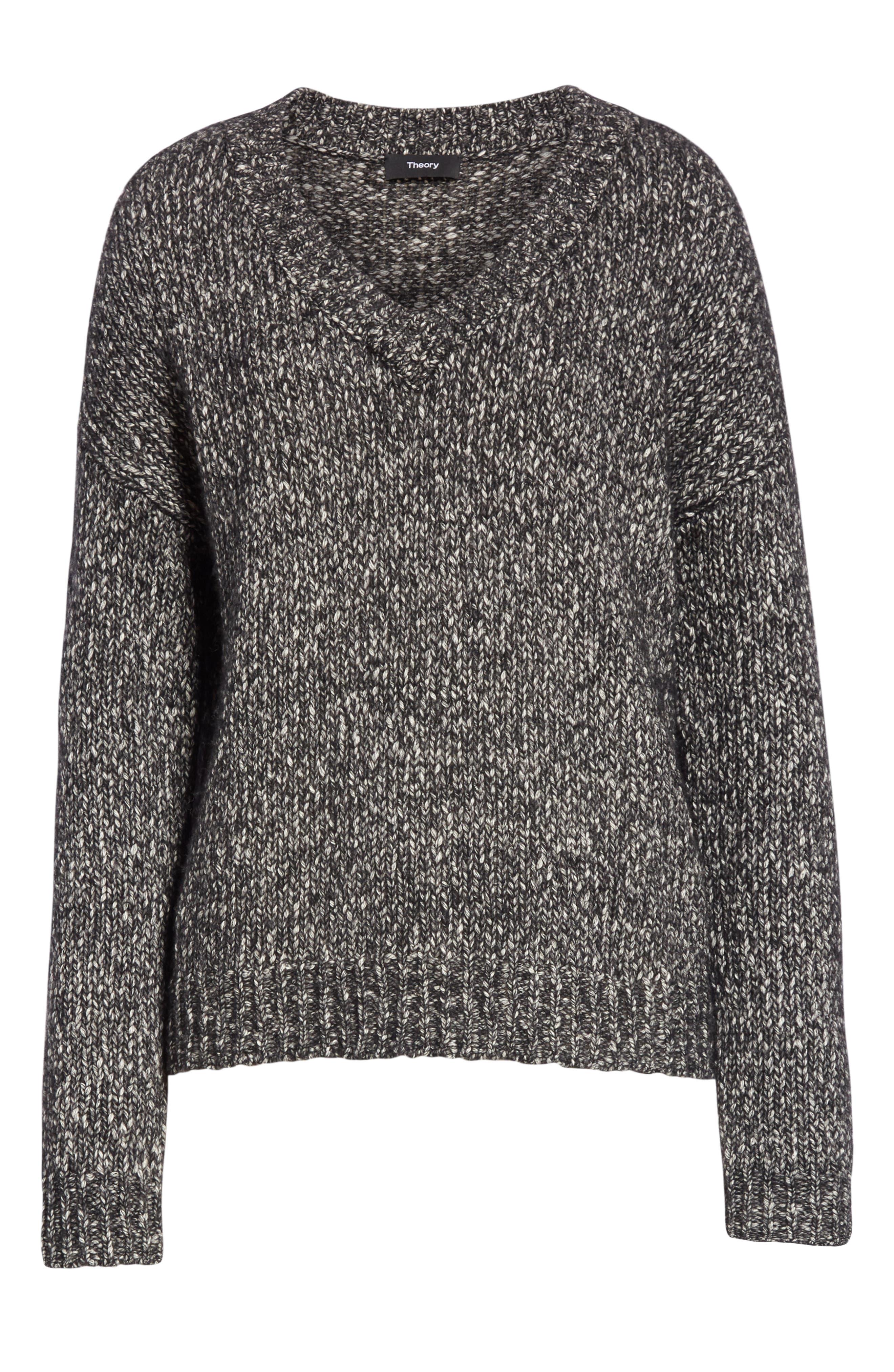Parkland Slouchy Cotton & Wool Sweater,                             Alternate thumbnail 6, color,                             LEAD MELANGE