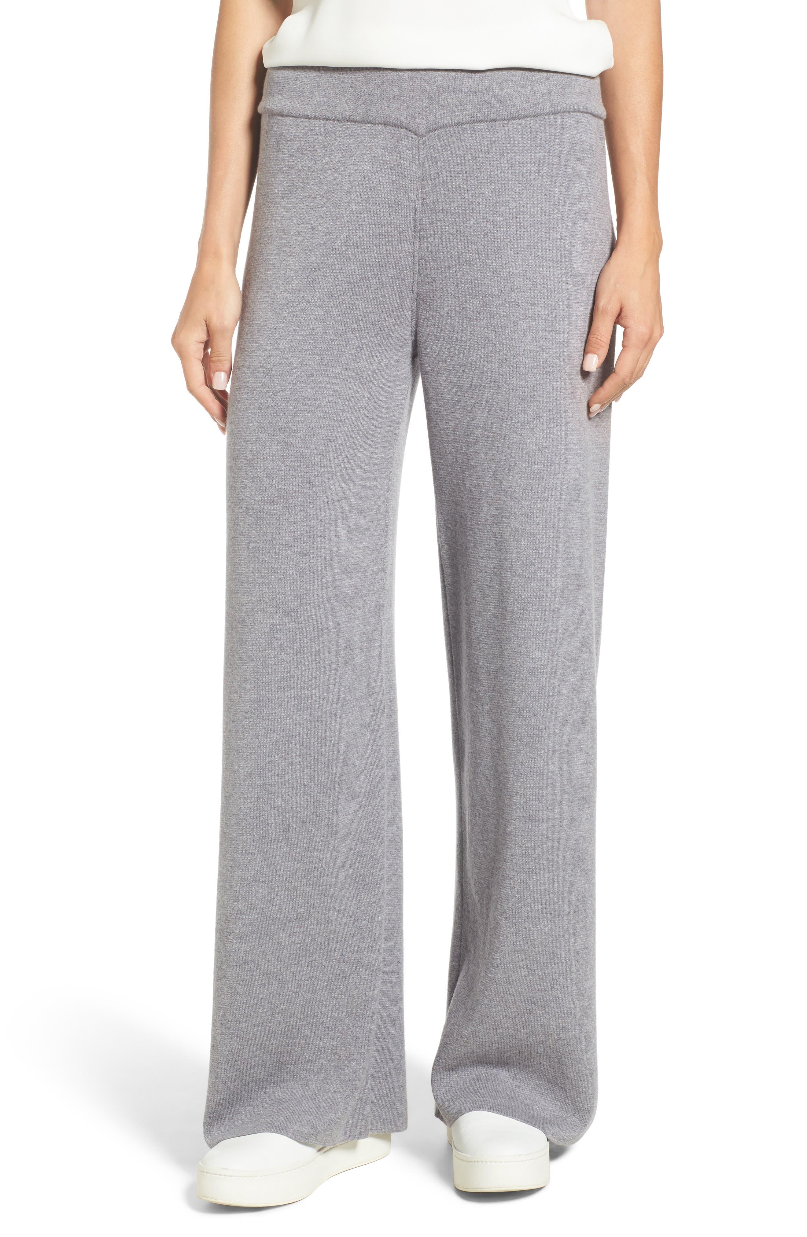 Heathered Knit Pants,                         Main,                         color, WARM GREY
