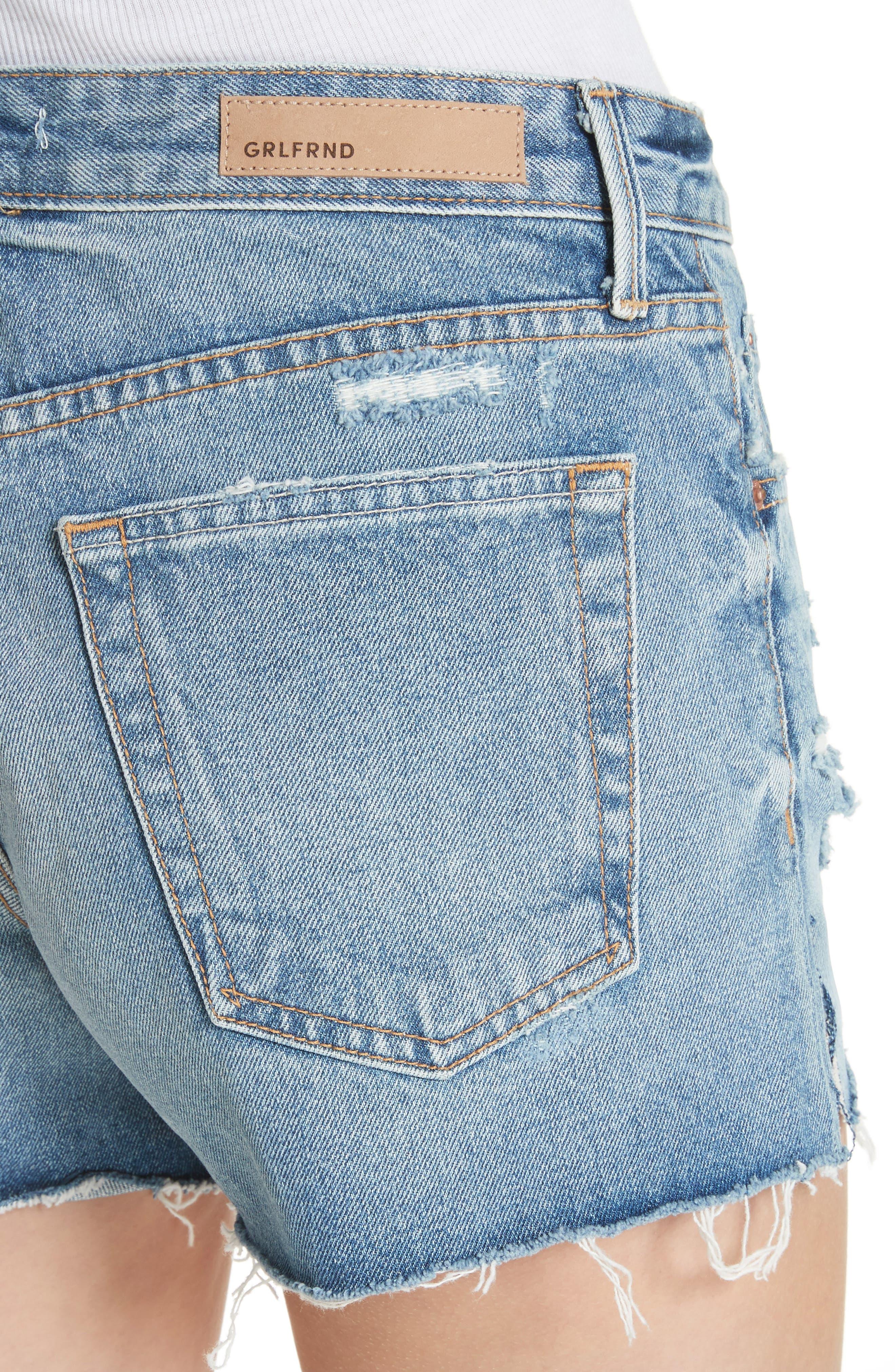 Dovima Distressed Denim Shorts,                             Alternate thumbnail 4, color,                             476
