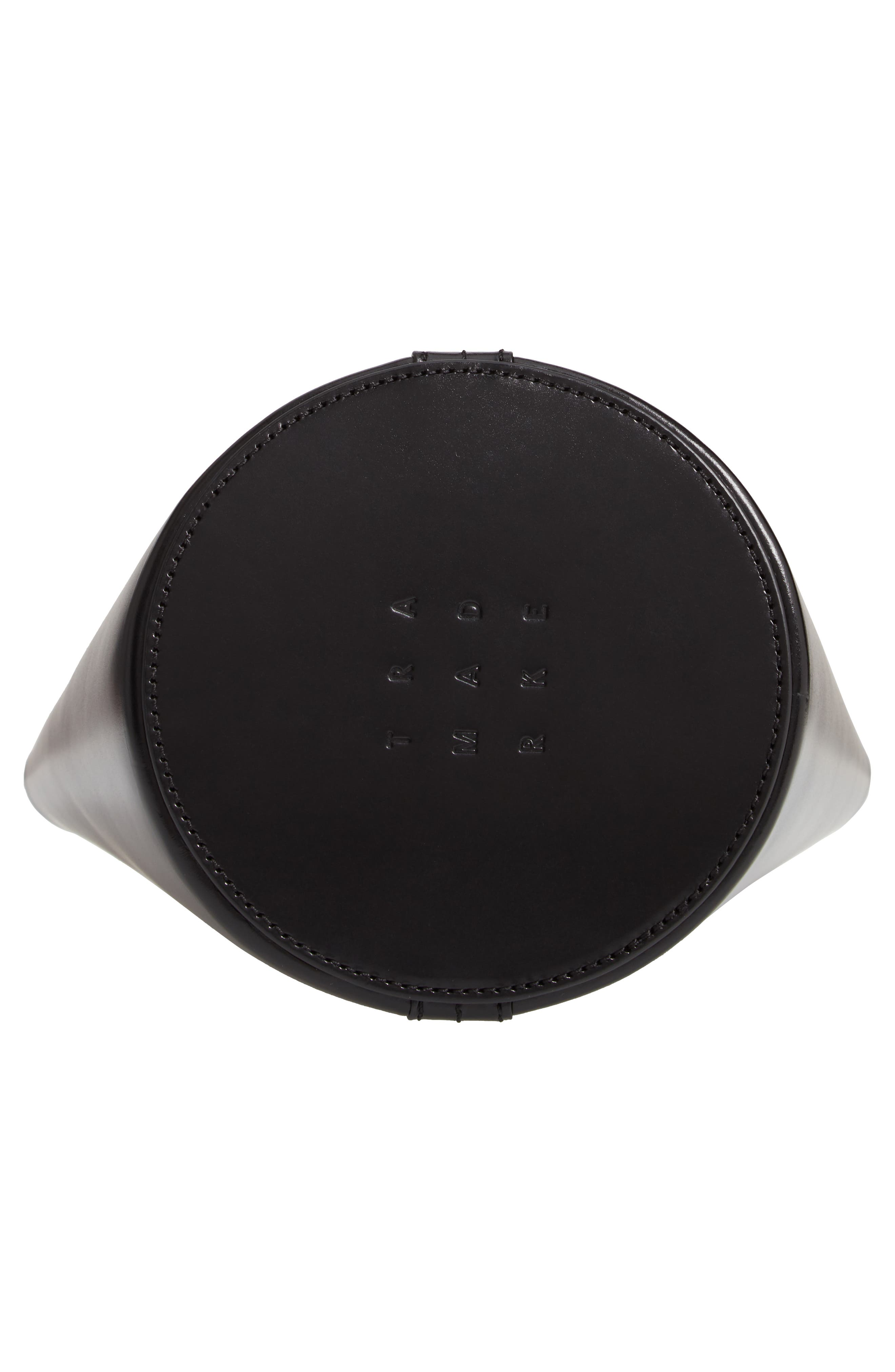 Small Leather Bucket Bag,                             Alternate thumbnail 6, color,                             BLACK