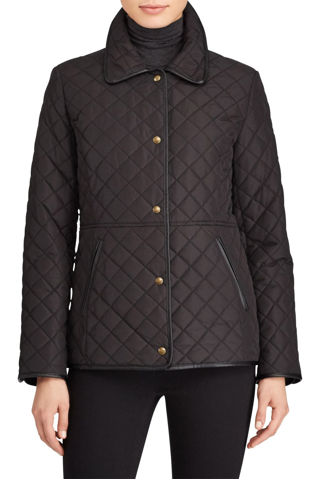 Faux Leather Trim Quilted Jacket,                             Main thumbnail 1, color,                             BLACK