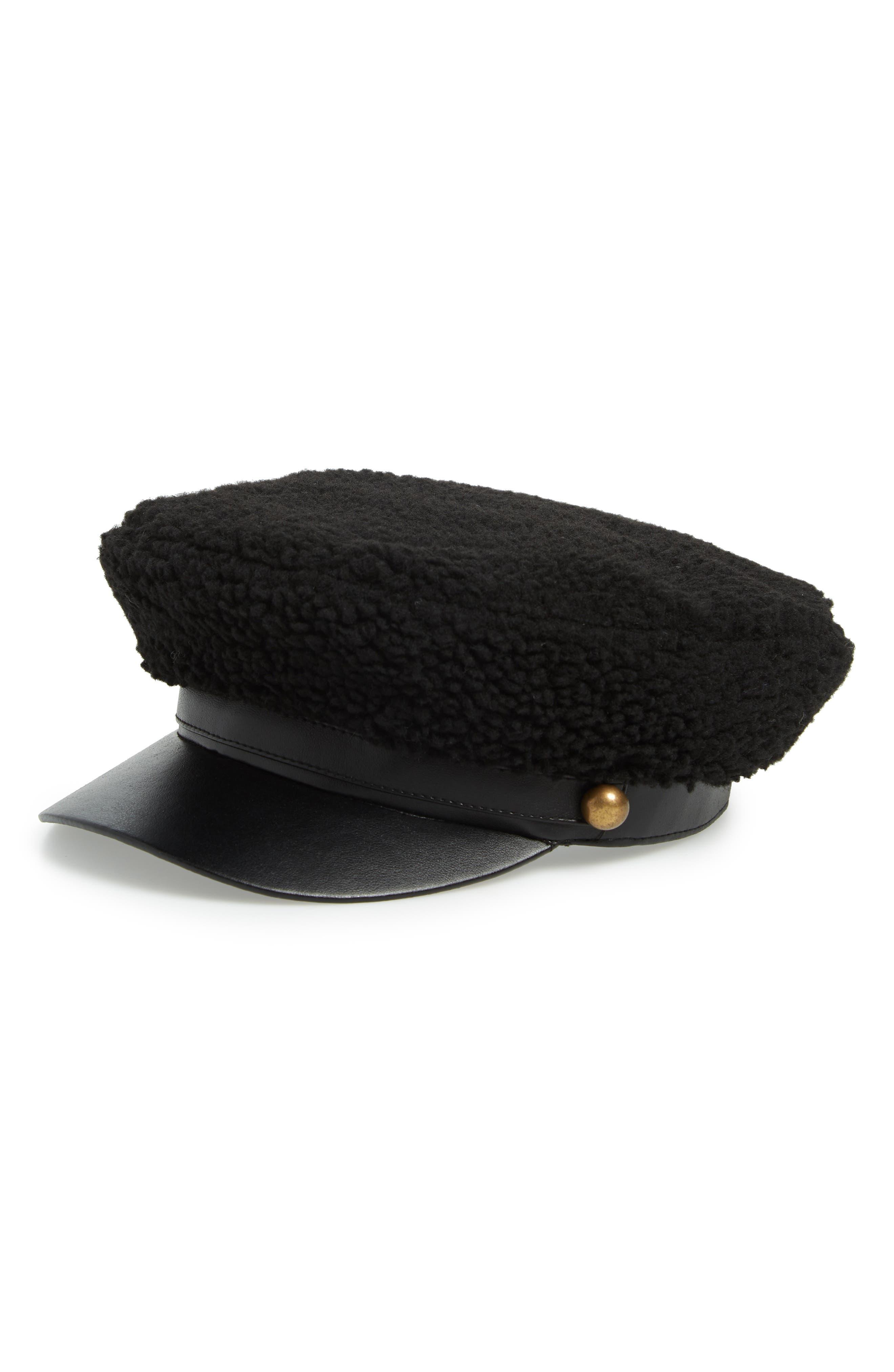 Fleece Cabbie Cap,                             Main thumbnail 1, color,                             BLACK COMBO