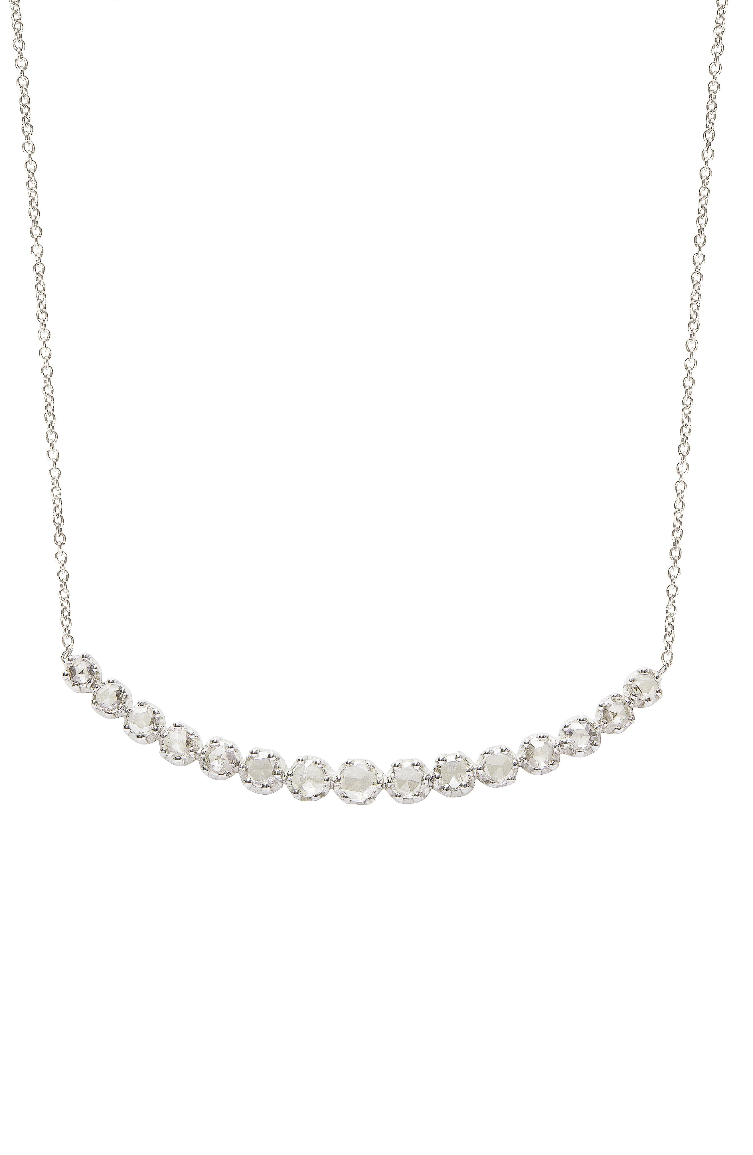 SETHI COUTURE Rose-Cut Diamond Curve Bar Necklace in White Gold/ Diamond