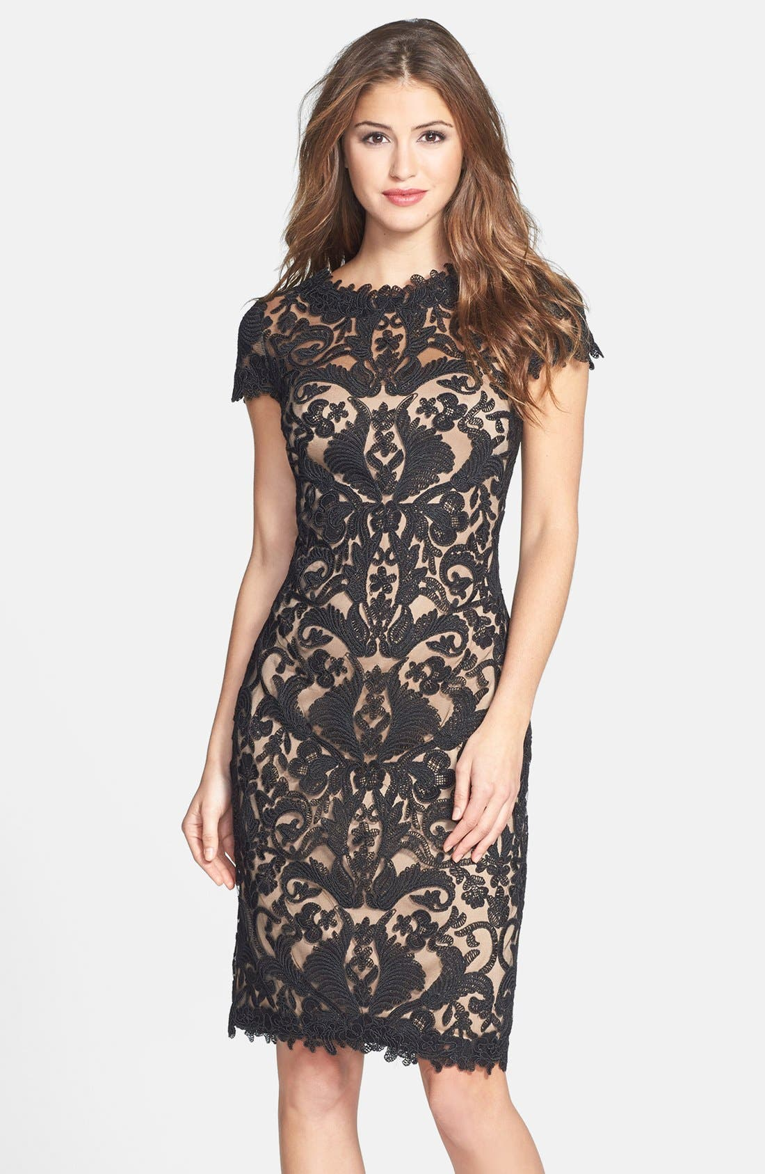 Illusion Yoke Lace Sheath Dress,                             Main thumbnail 4, color,