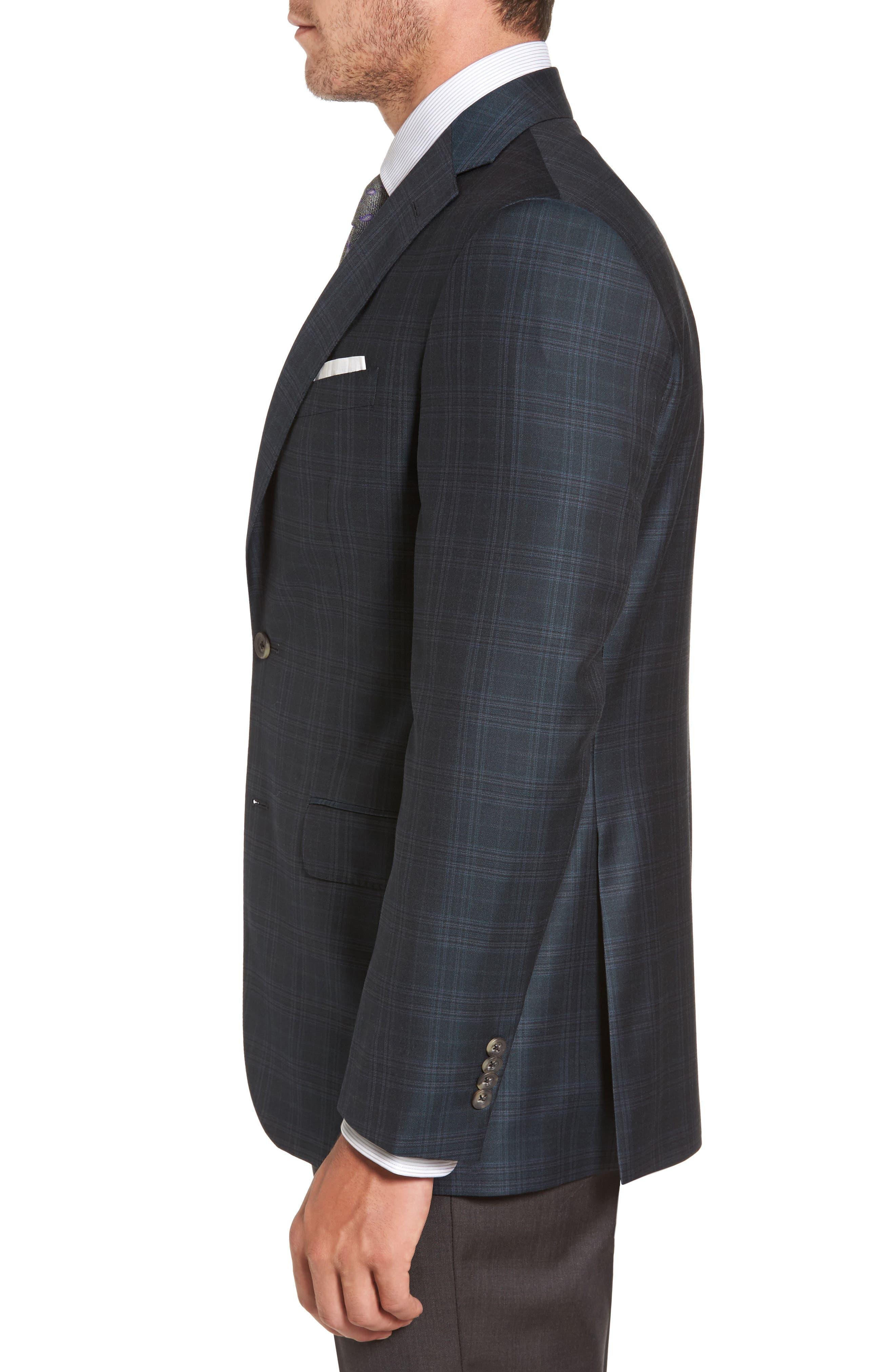 Connor Classic Fit Plaid Wool Sport Coat,                             Alternate thumbnail 3, color,                             310