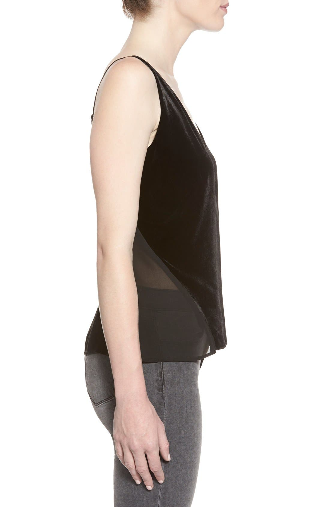 'Lucy' Velvet Front Camisole,                             Alternate thumbnail 6, color,                             BLACK