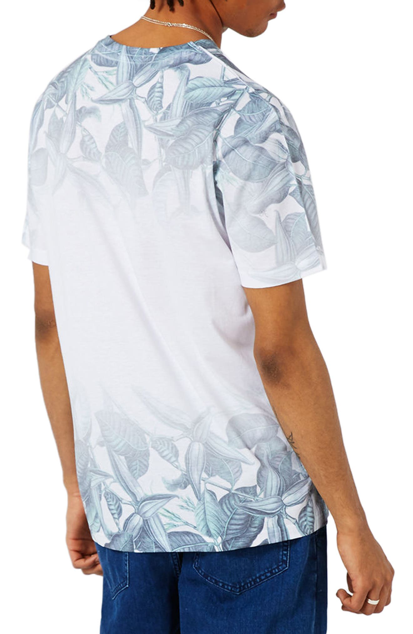 Slim Fit Leaf Print T-Shirt,                             Alternate thumbnail 2, color,                             100