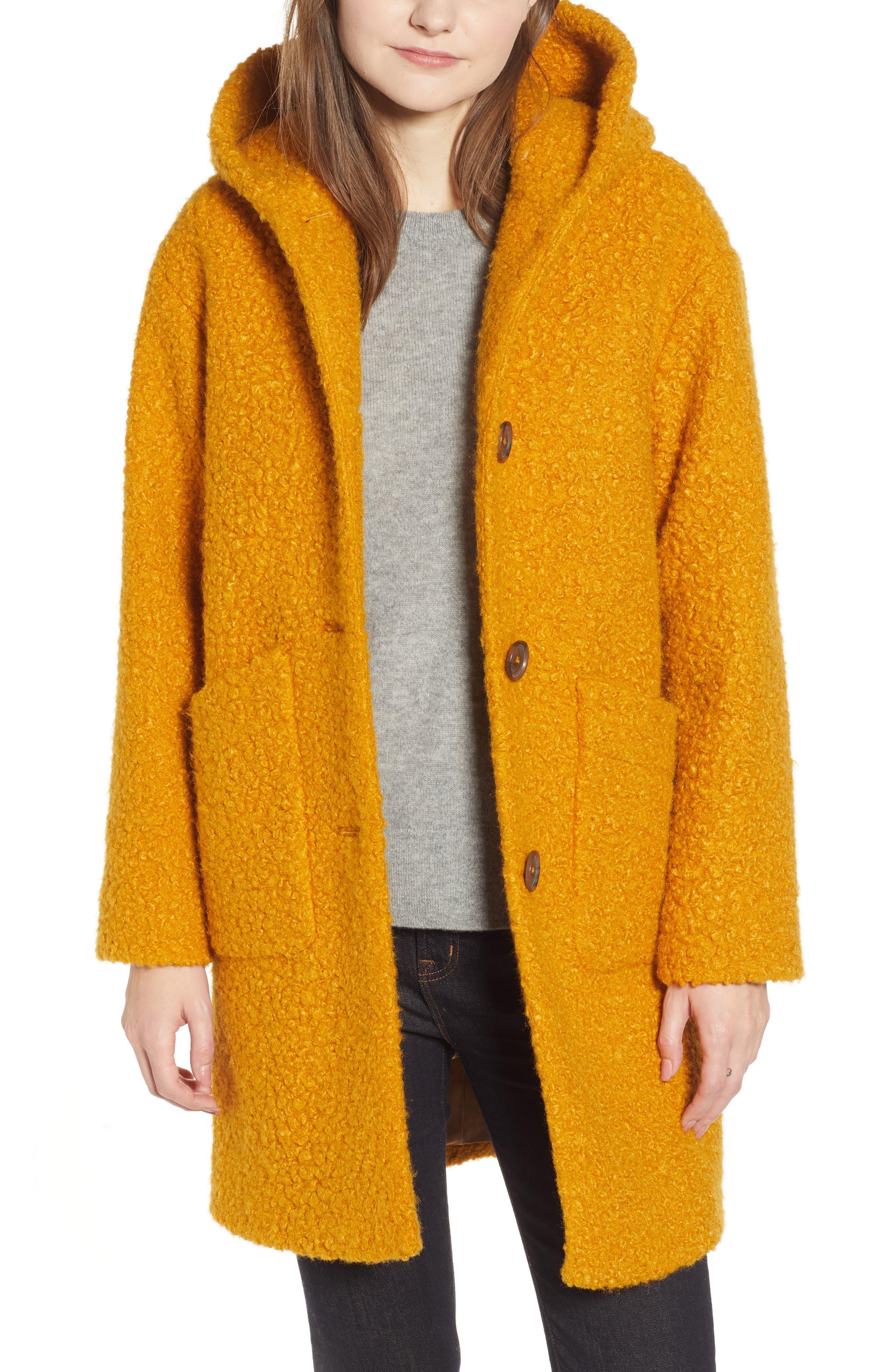 Hooded Coat,                             Alternate thumbnail 4, color,                             YELLOW TREASURE