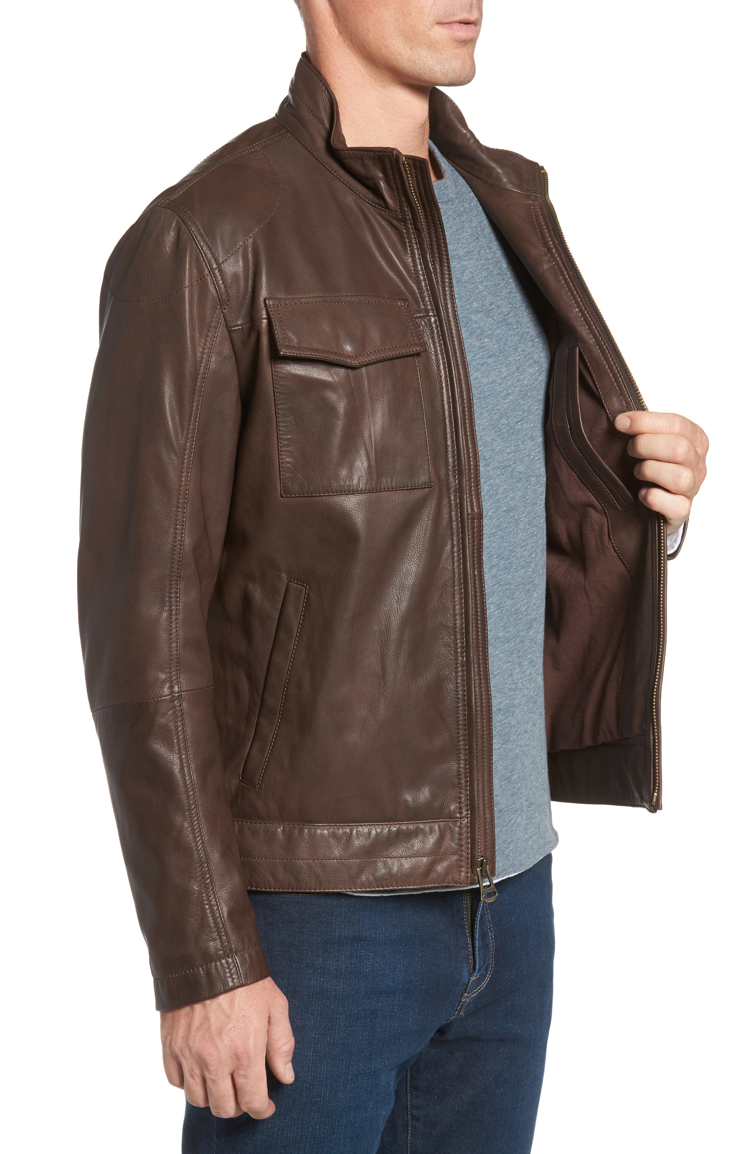Washed Leather Trucker Jacket,                             Alternate thumbnail 3, color,                             BROWN