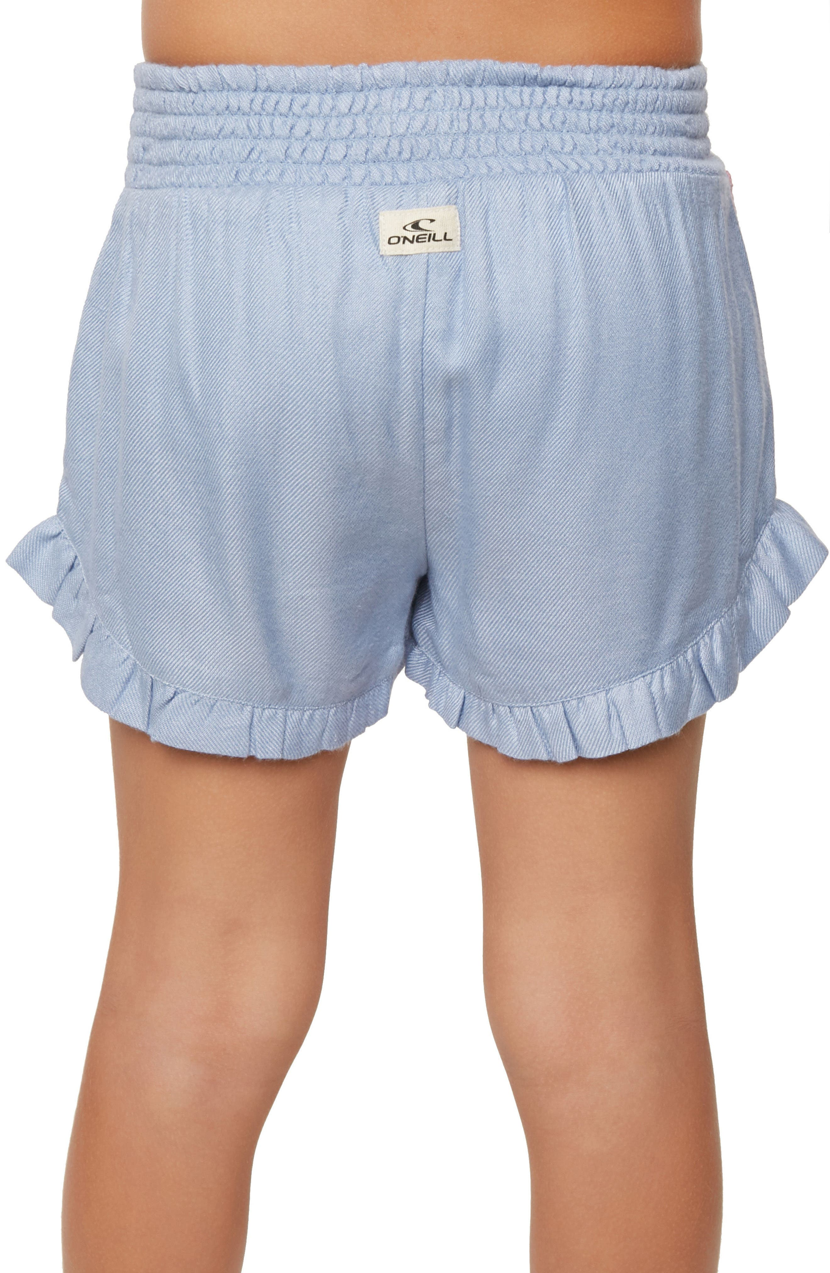 Bay Ruffle Shorts,                             Alternate thumbnail 4, color,                             BLEACHED PERIWINKLE