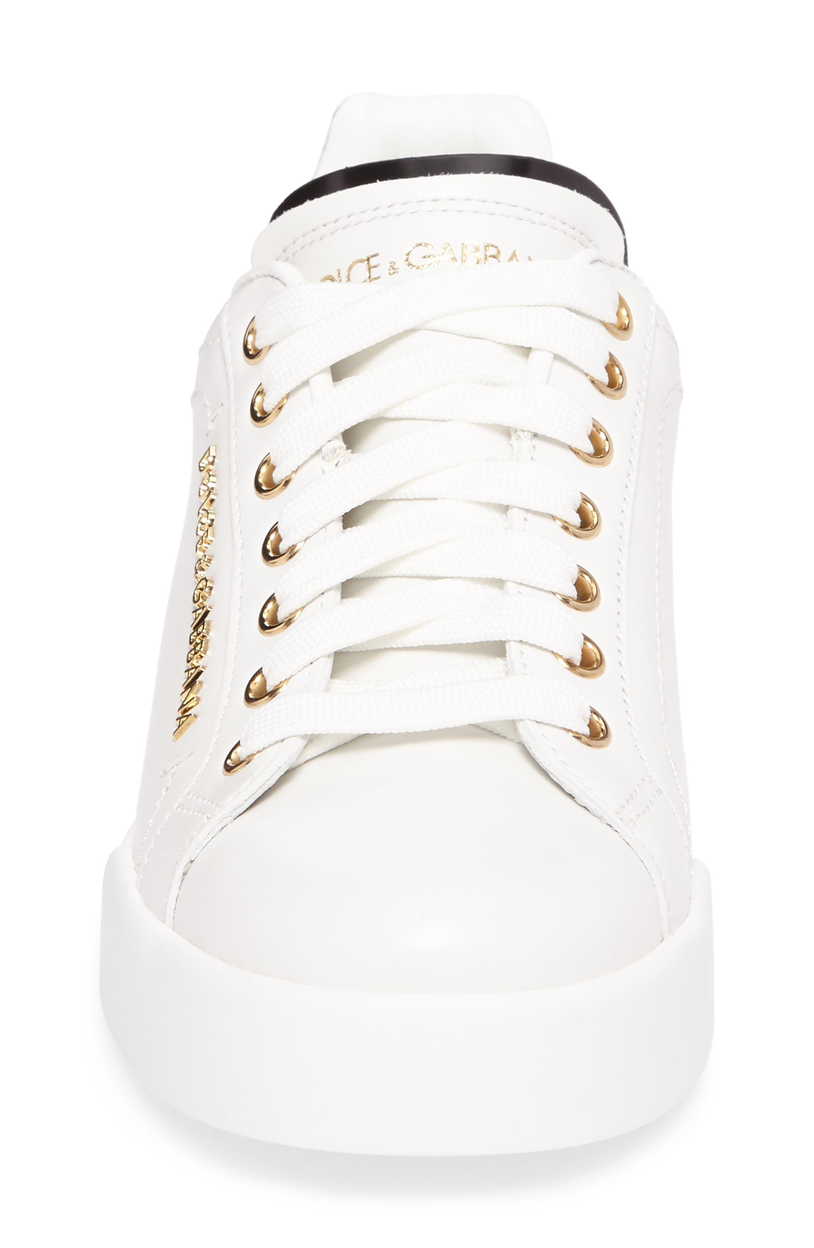 Logo Embellished Sneaker,                             Alternate thumbnail 4, color,                             WHITE/ GOLD