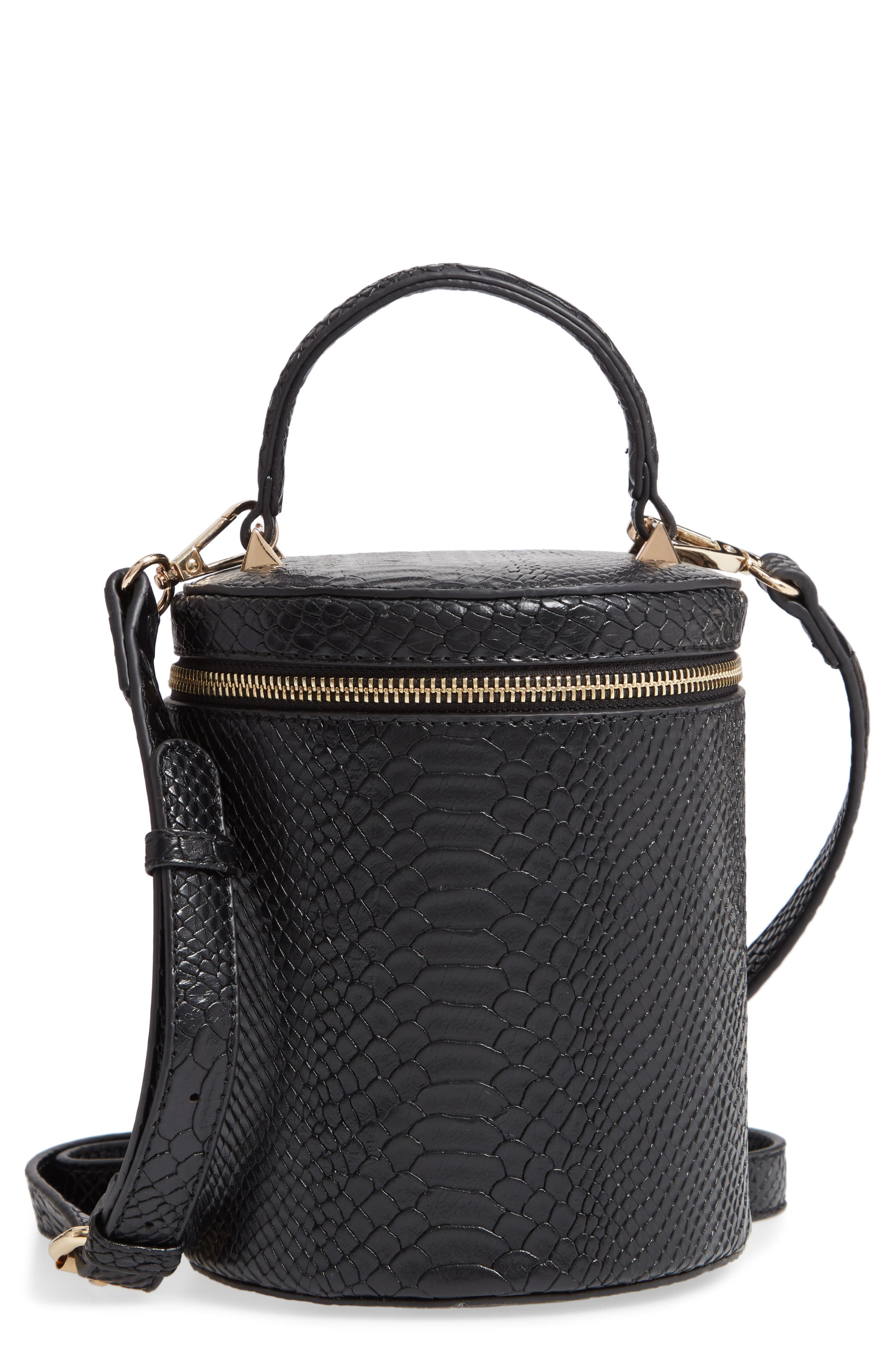 Marion Snake Embossed Bucket Bag, Main, color, 001