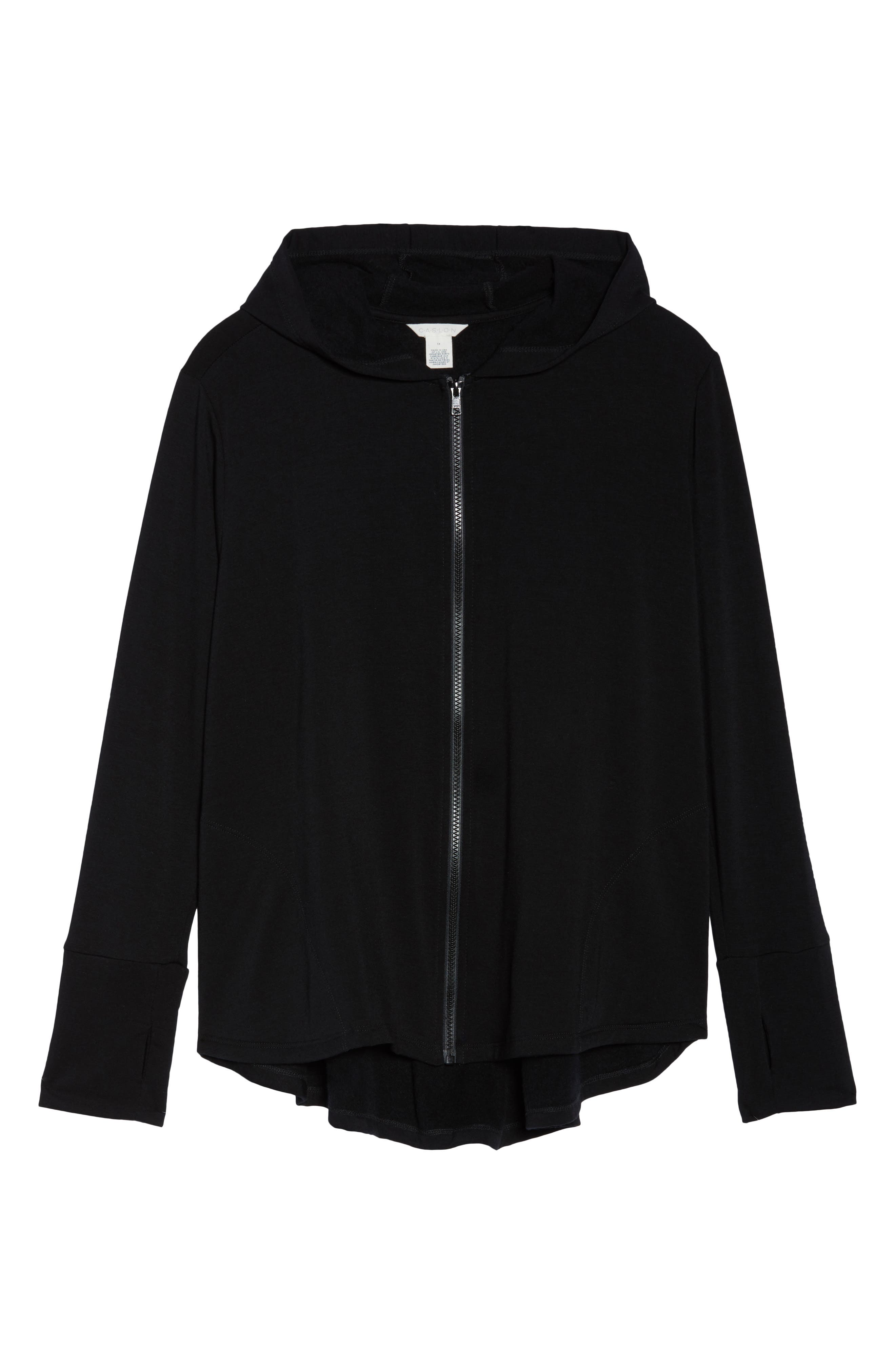 Off-Duty Zip Front Hooded Jacket,                             Alternate thumbnail 6, color,                             001