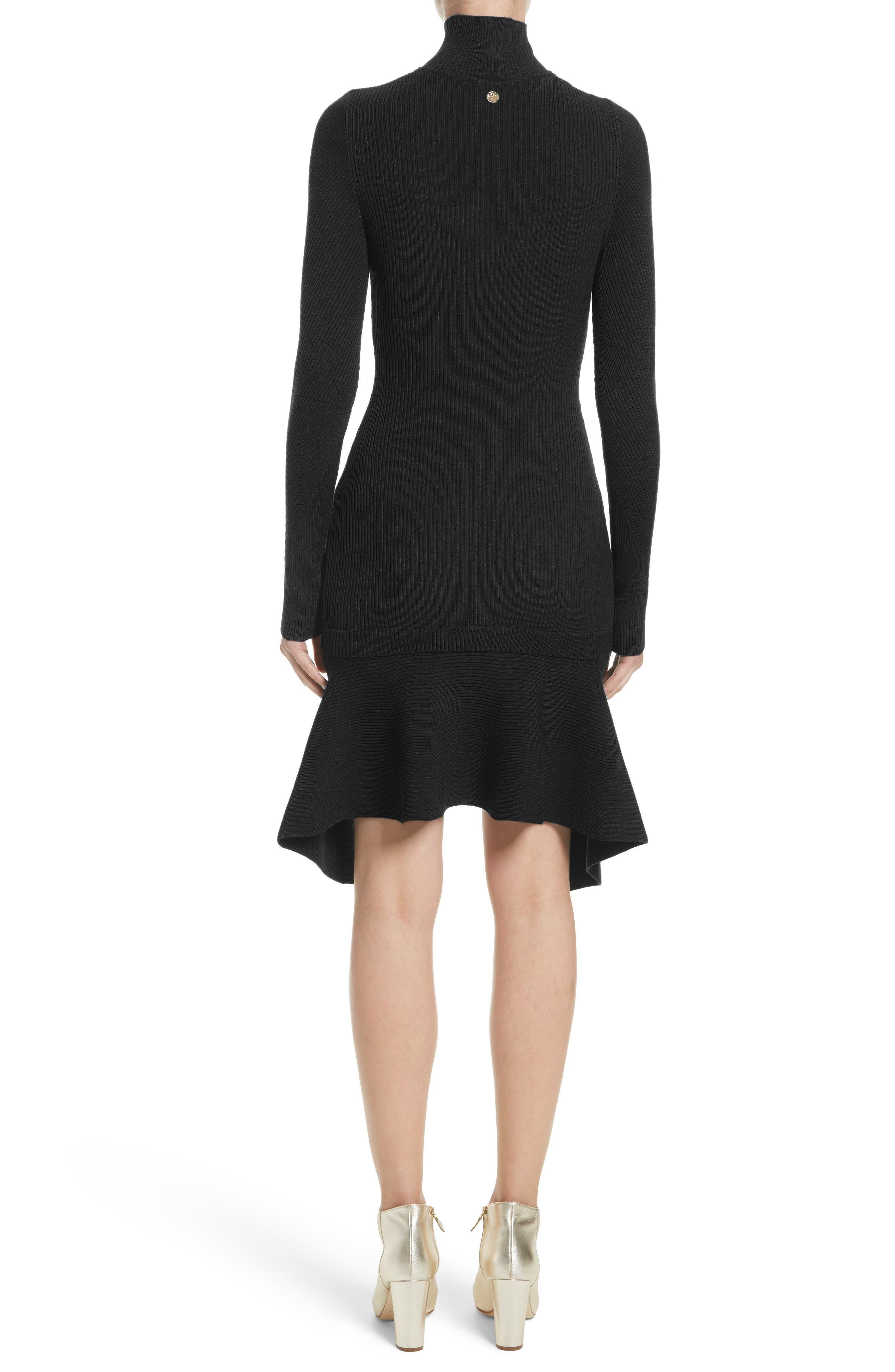 Collection Knit Keyhole Turtleneck Dress,                             Alternate thumbnail 2, color,                             001