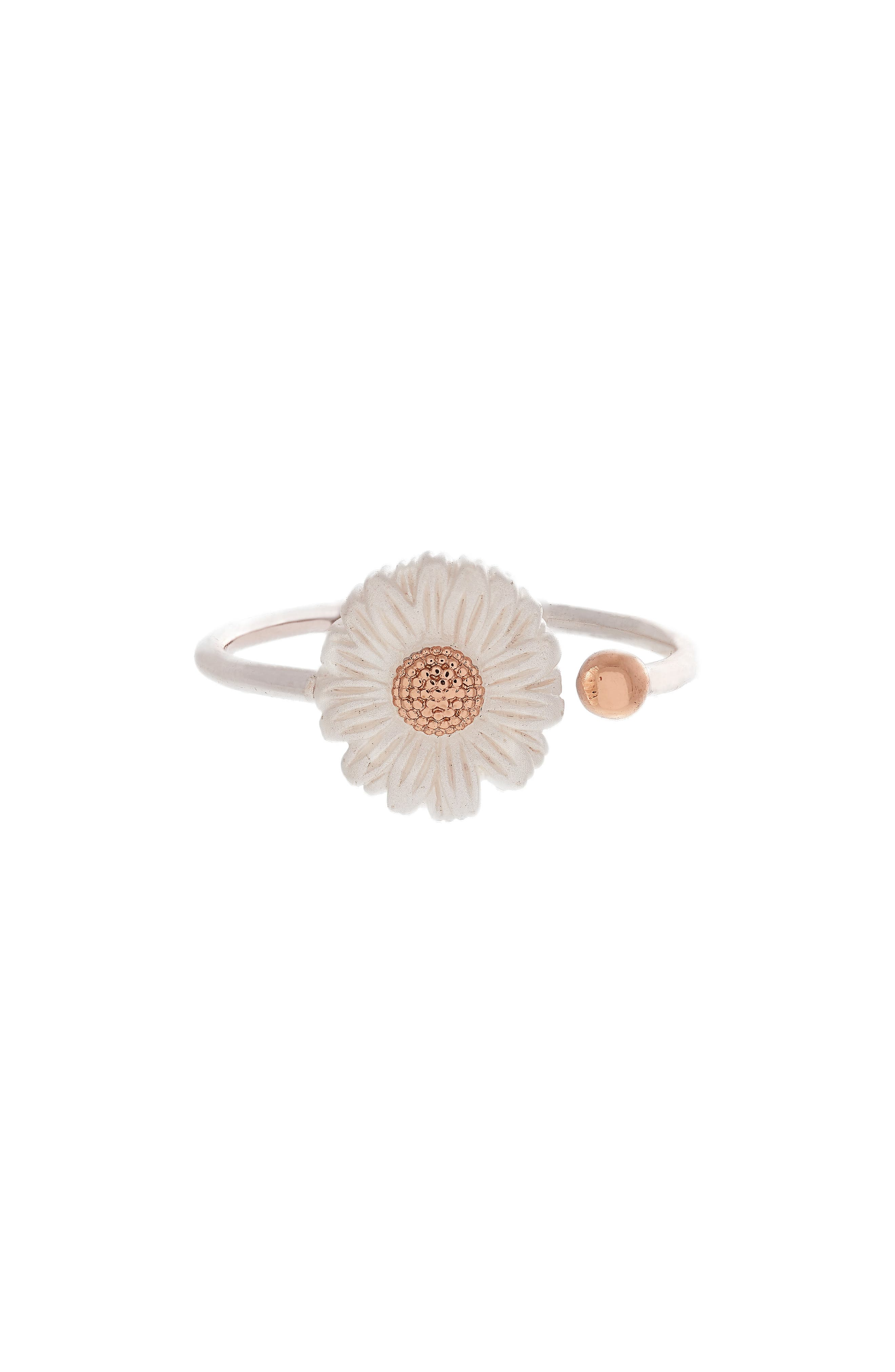 Daisy Ring,                             Main thumbnail 1, color,                             SILVER/ ROSE GOLD
