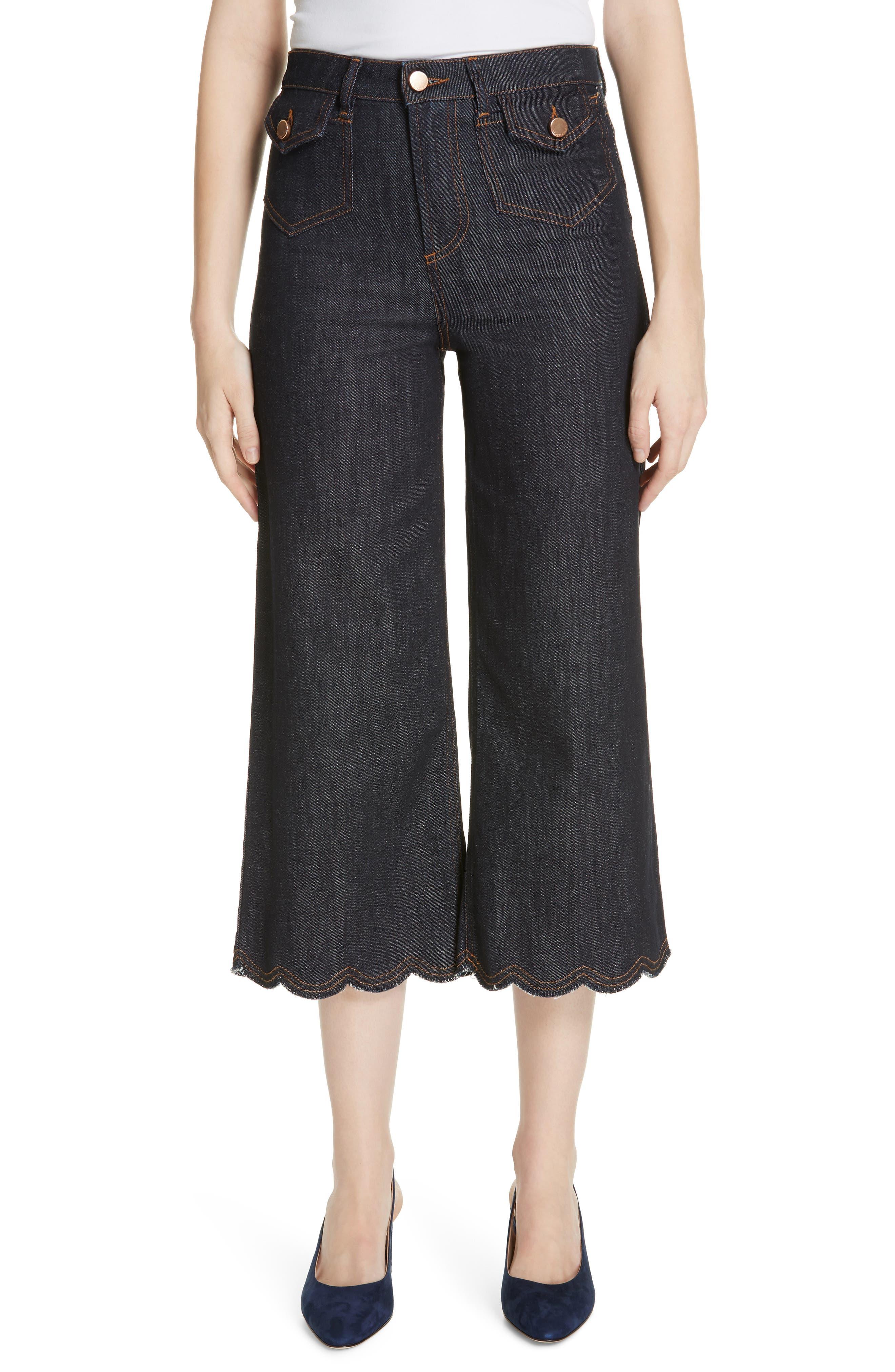 Scallop Hem Crop Wide Leg Jeans,                             Main thumbnail 1, color,                             BLUE DENIM