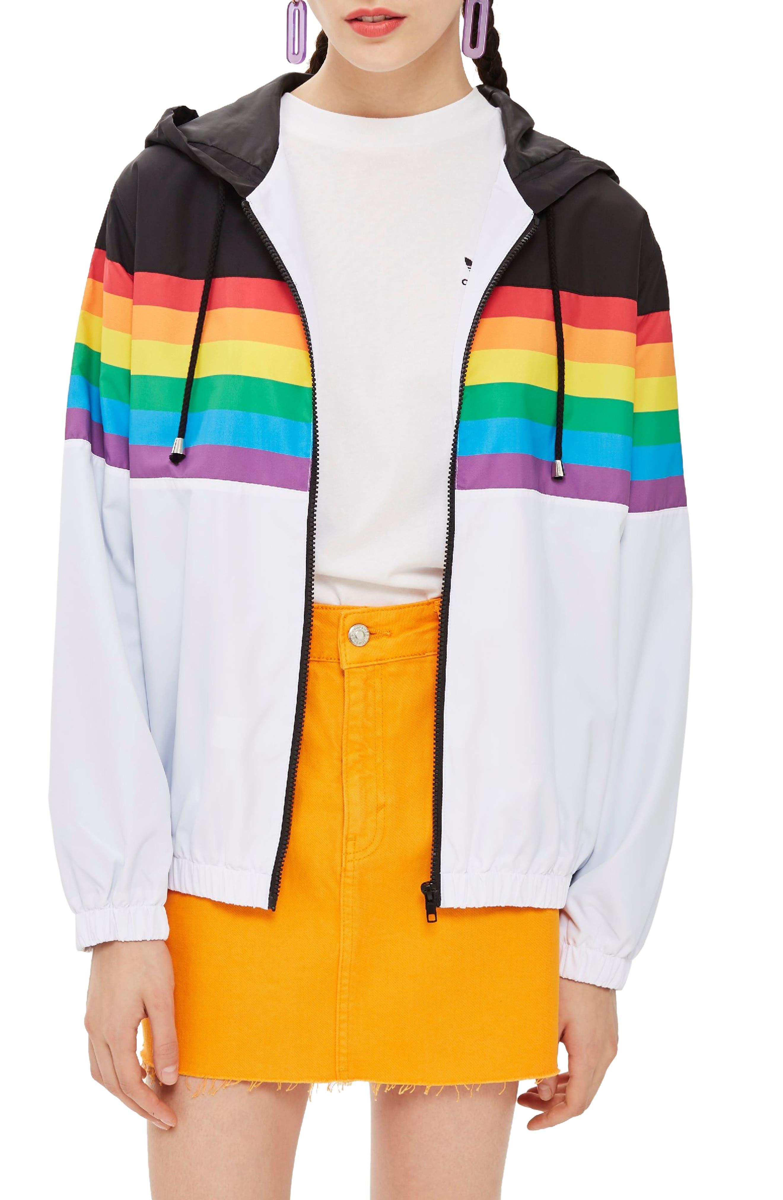 Rainbow Windbreaker,                             Main thumbnail 1, color,                             WHITE MULTI