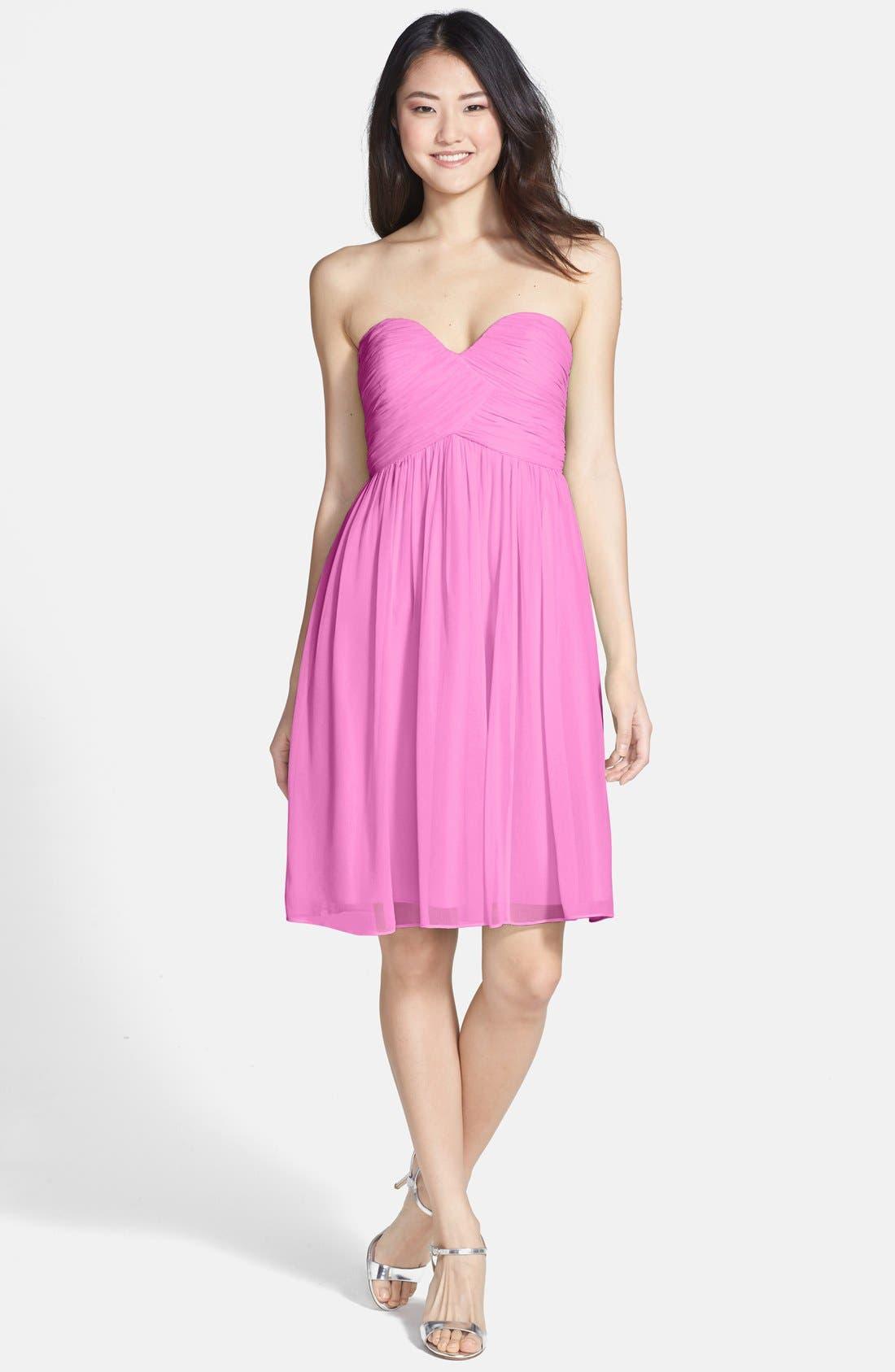 'Morgan' Strapless Silk Chiffon Dress,                             Main thumbnail 25, color,