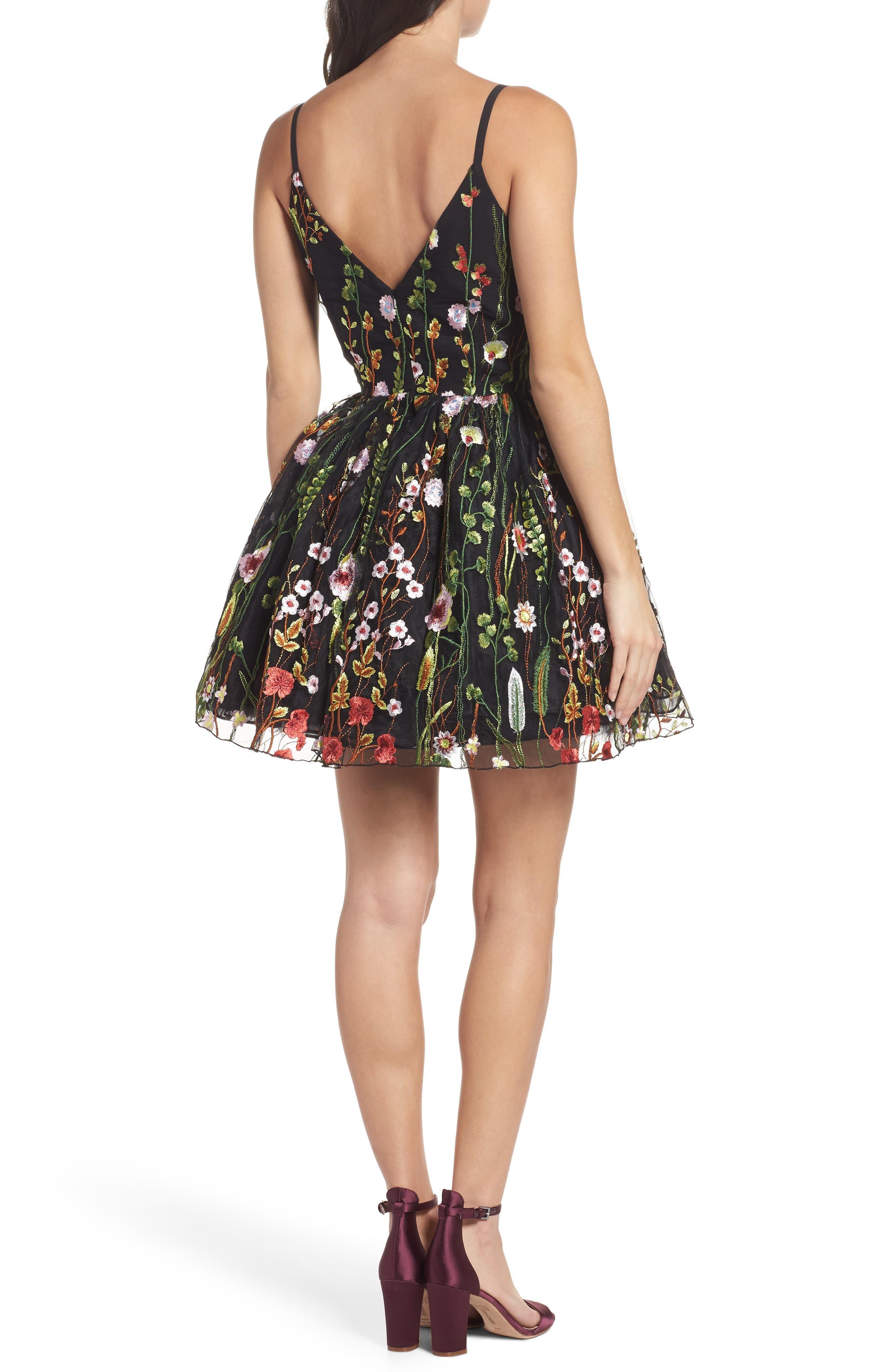 Embroidered Skater Dress,                             Alternate thumbnail 2, color,                             BLACK/MULTI