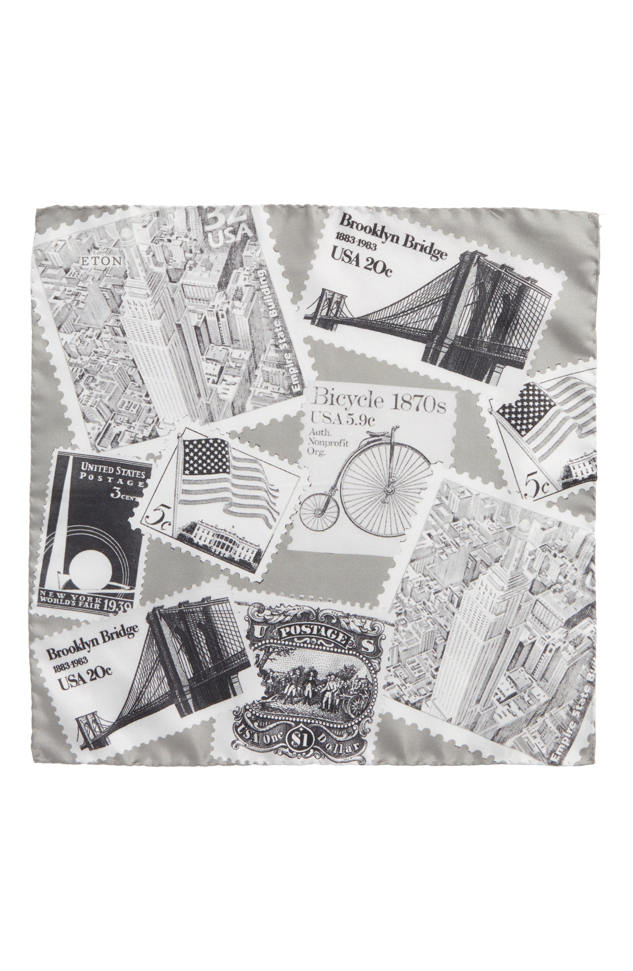 New York Stamp Silk Pocket Square,                             Alternate thumbnail 2, color,                             GREY