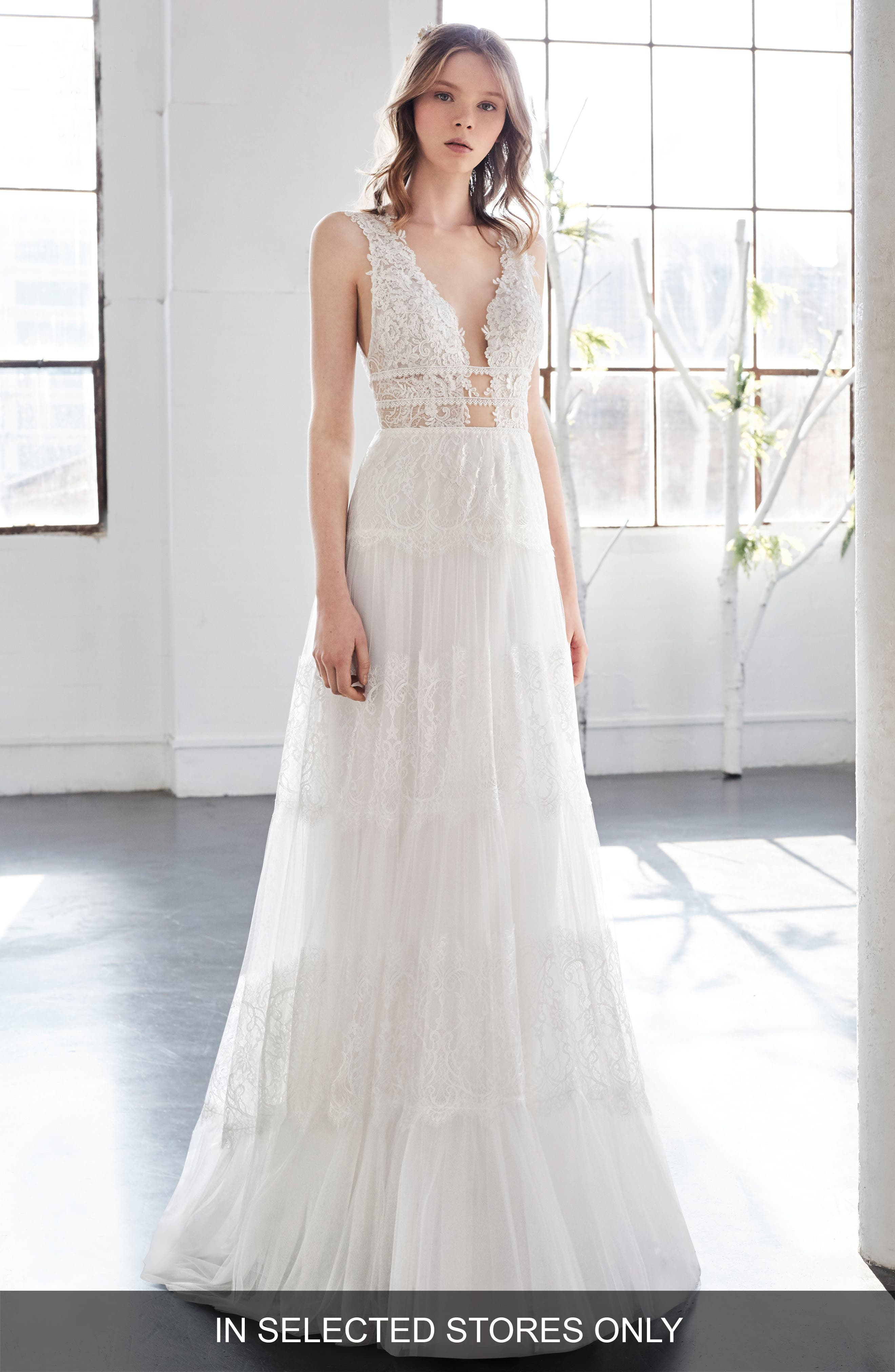 Inmaculada García Olivinia Lace A-Line Gown,                             Main thumbnail 1, color,                             IVORY