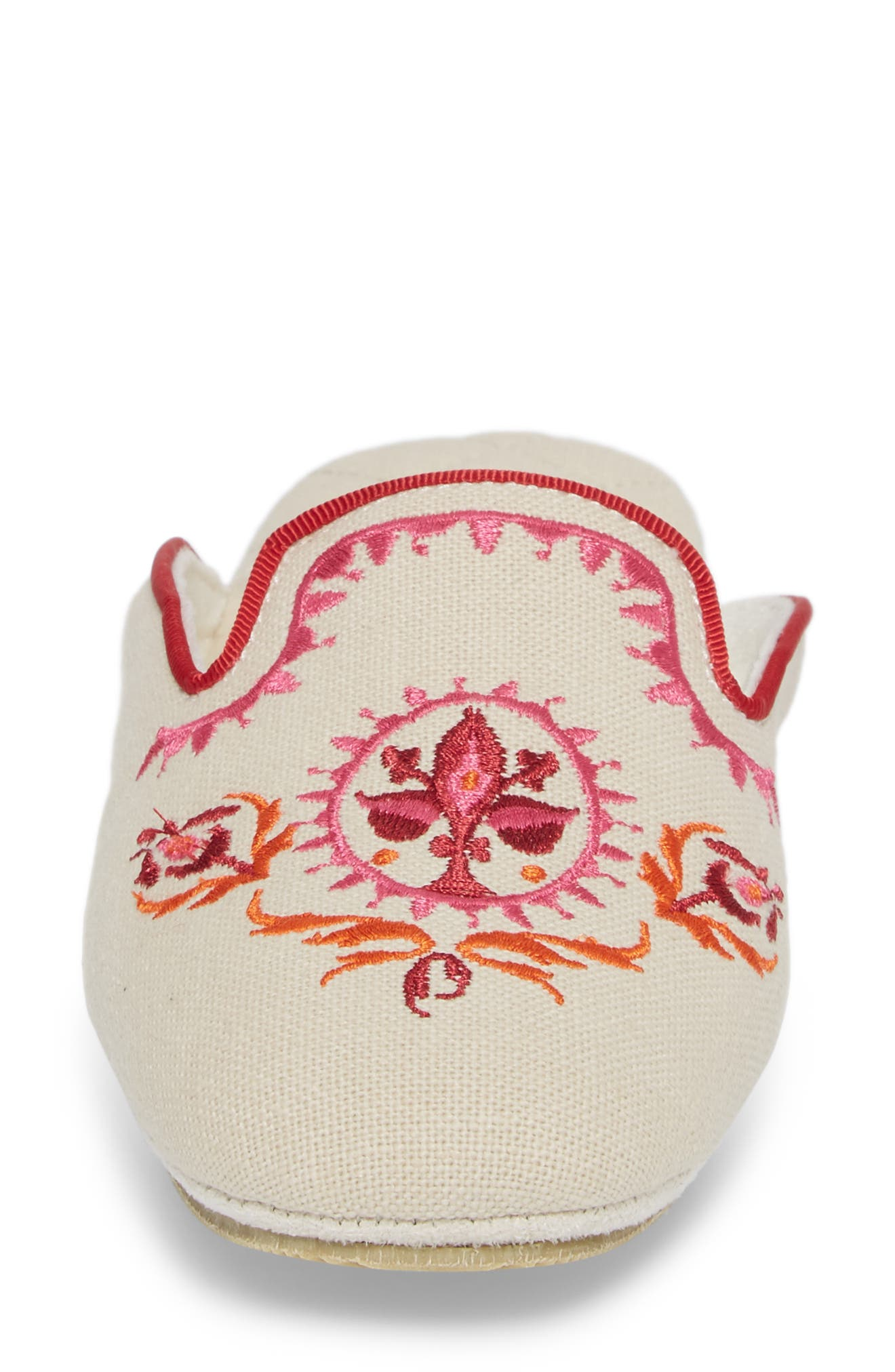 Rosa Embroidered Slipper,                             Alternate thumbnail 4, color,                             PINK FABRIC