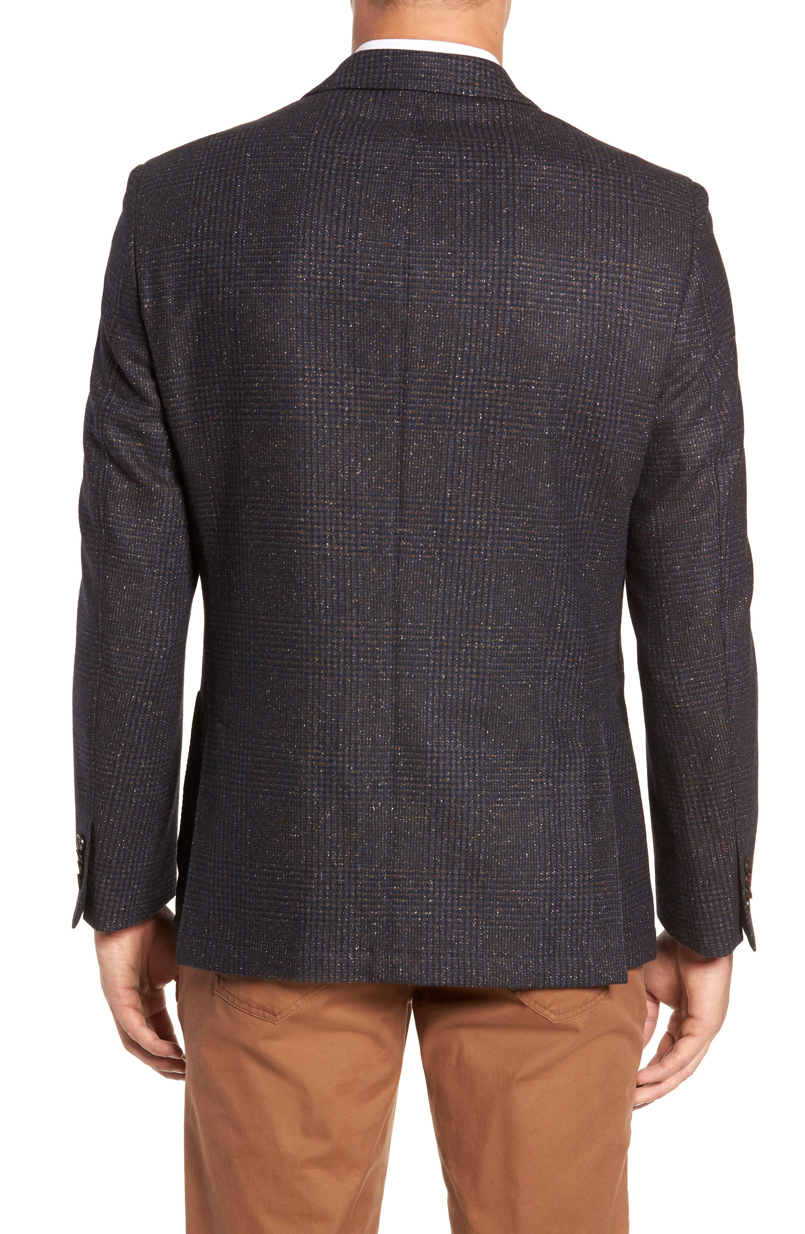 Regular Fit Wool & Silk Blend Blazer,                             Alternate thumbnail 2, color,                             BROWN