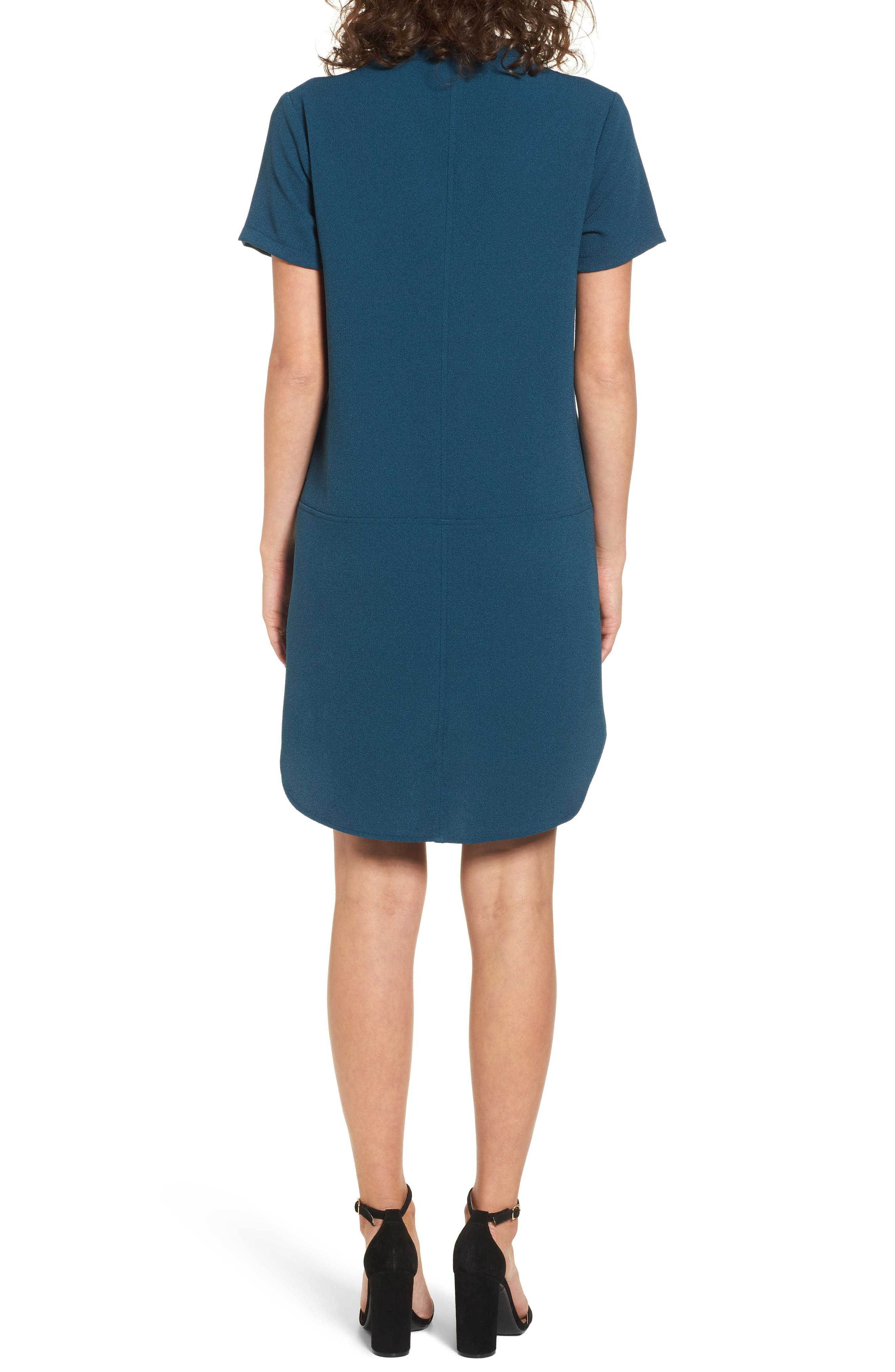 Hailey Crepe Dress,                             Alternate thumbnail 2, color,                             BLUE CERAMIC