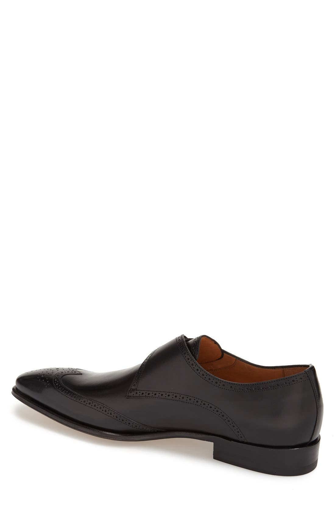 'Vitoria' Monk Strap Oxford,                             Alternate thumbnail 2, color,                             BLACK LEATHER