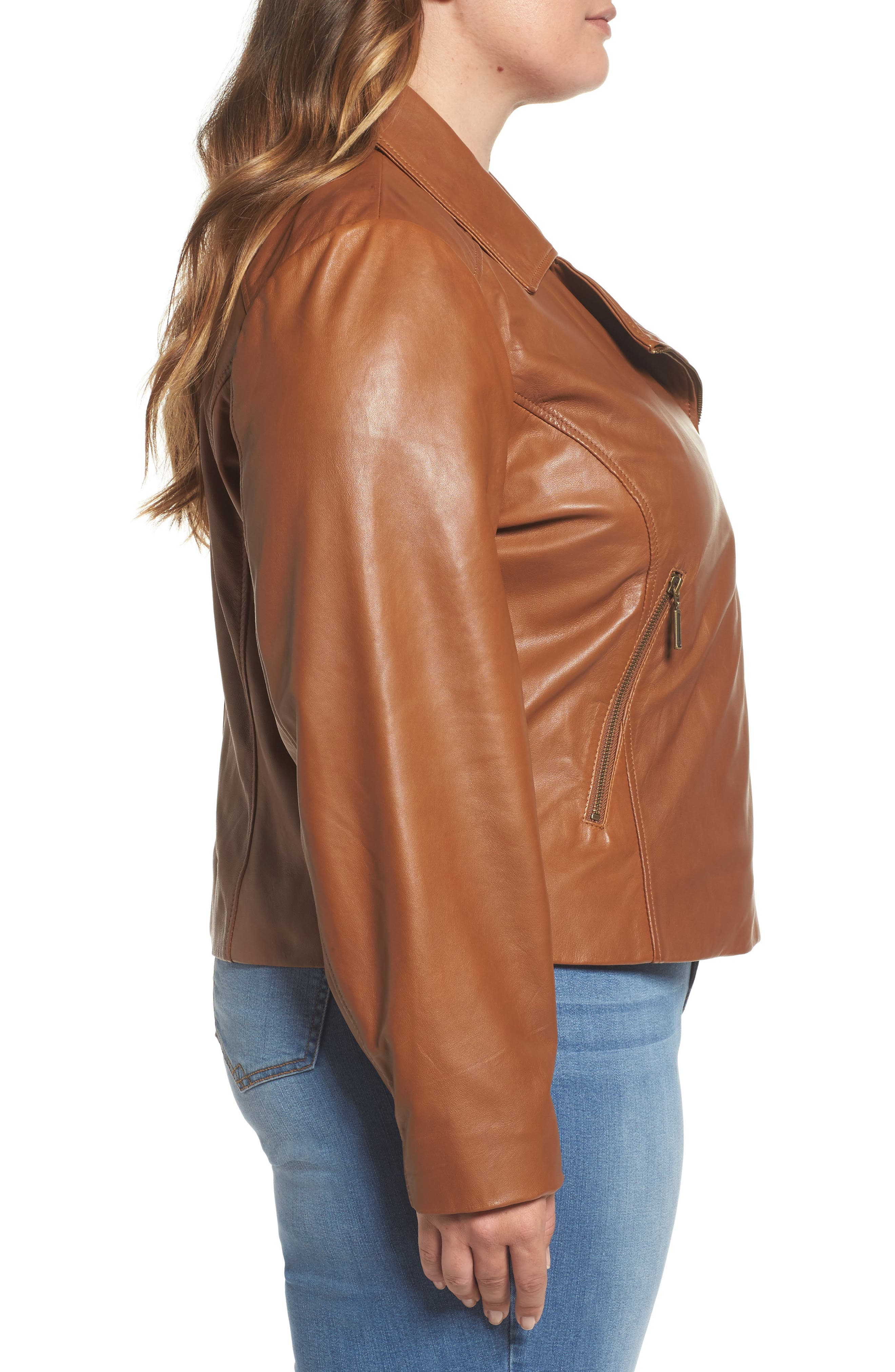 Leather Moto Jacket,                             Alternate thumbnail 12, color,