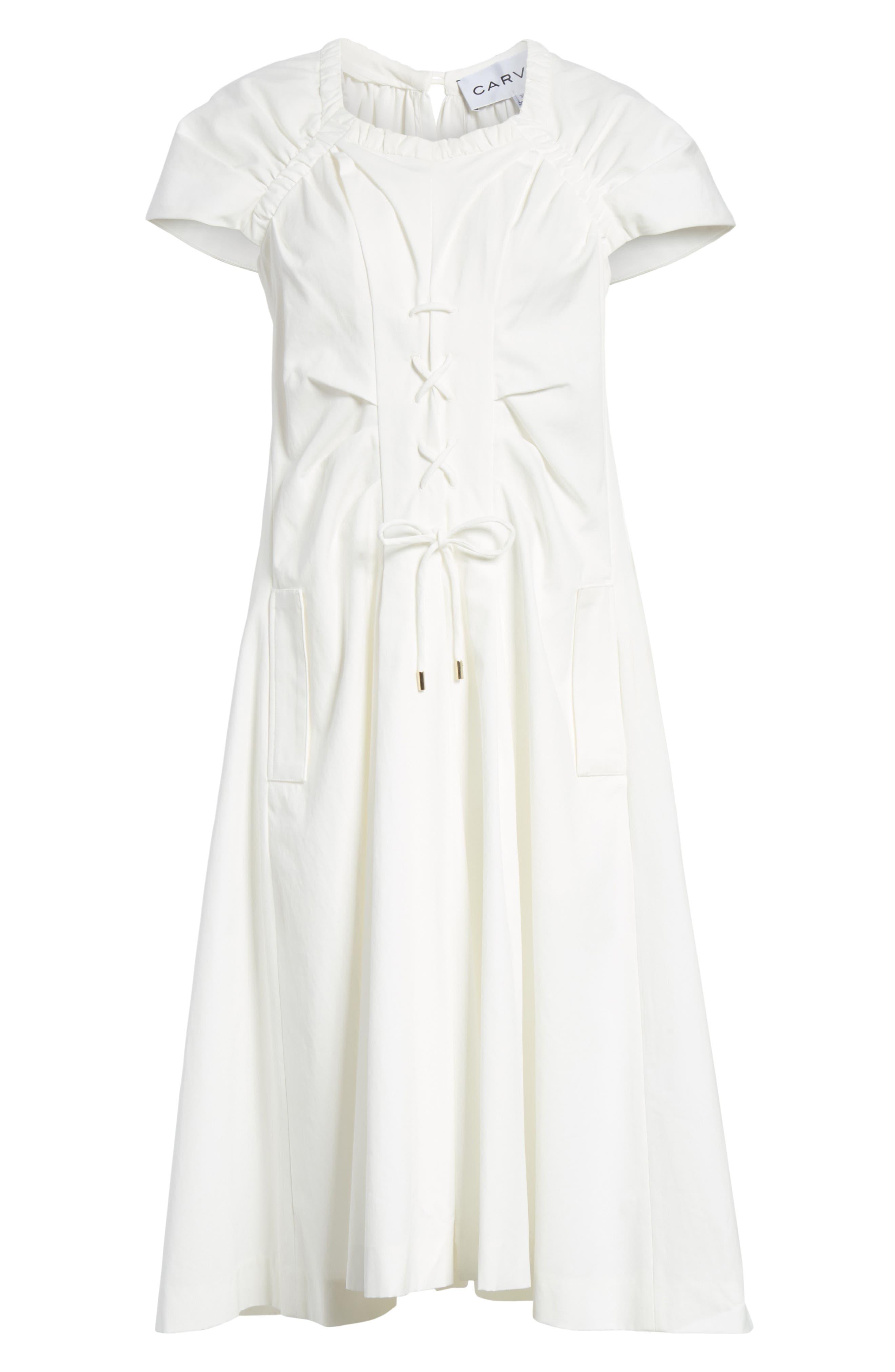 Lace Up Front Poplin Dress,                             Alternate thumbnail 6, color,                             100
