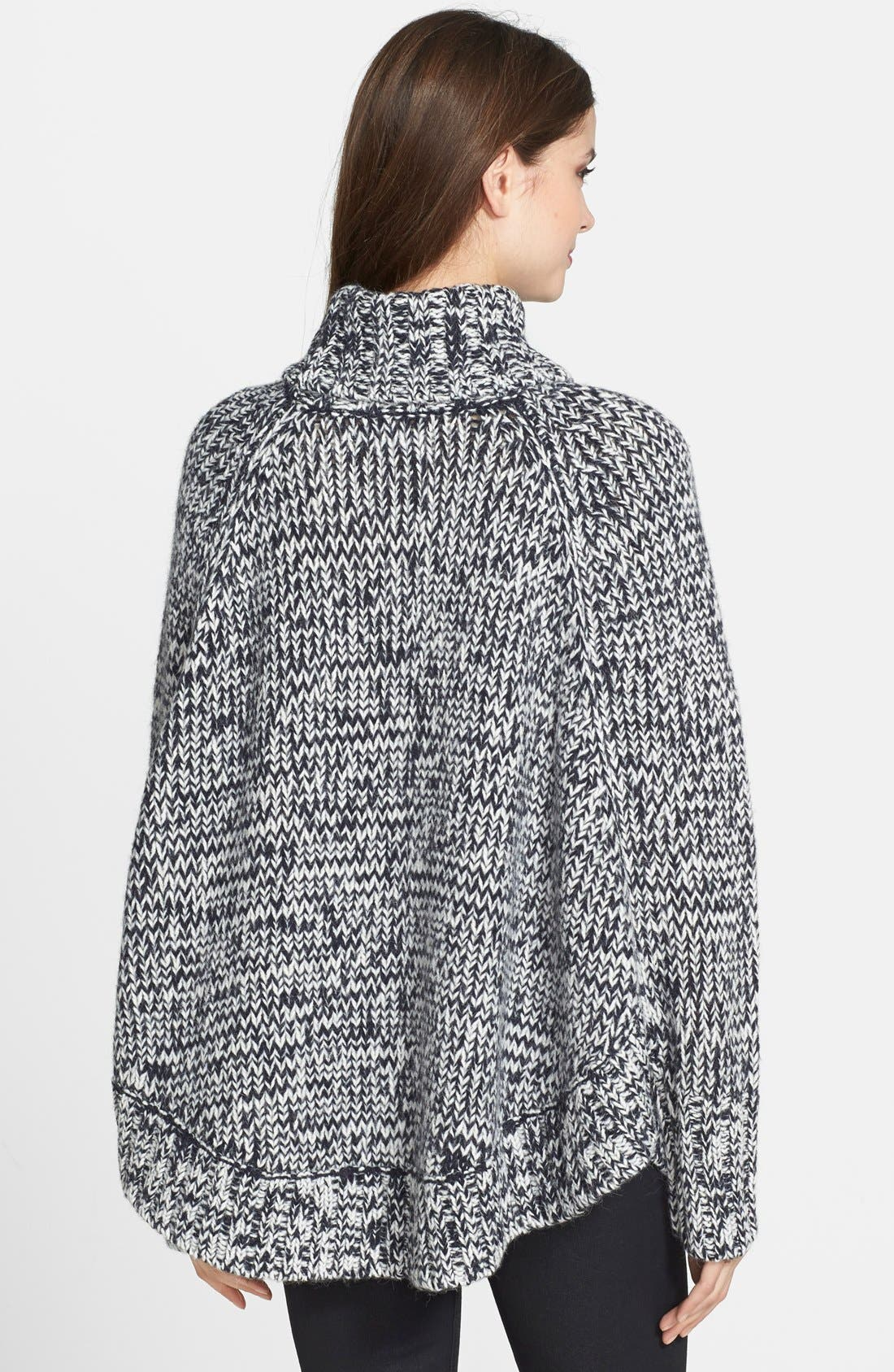 Turtleneck Poncho Sweater,                             Alternate thumbnail 4, color,