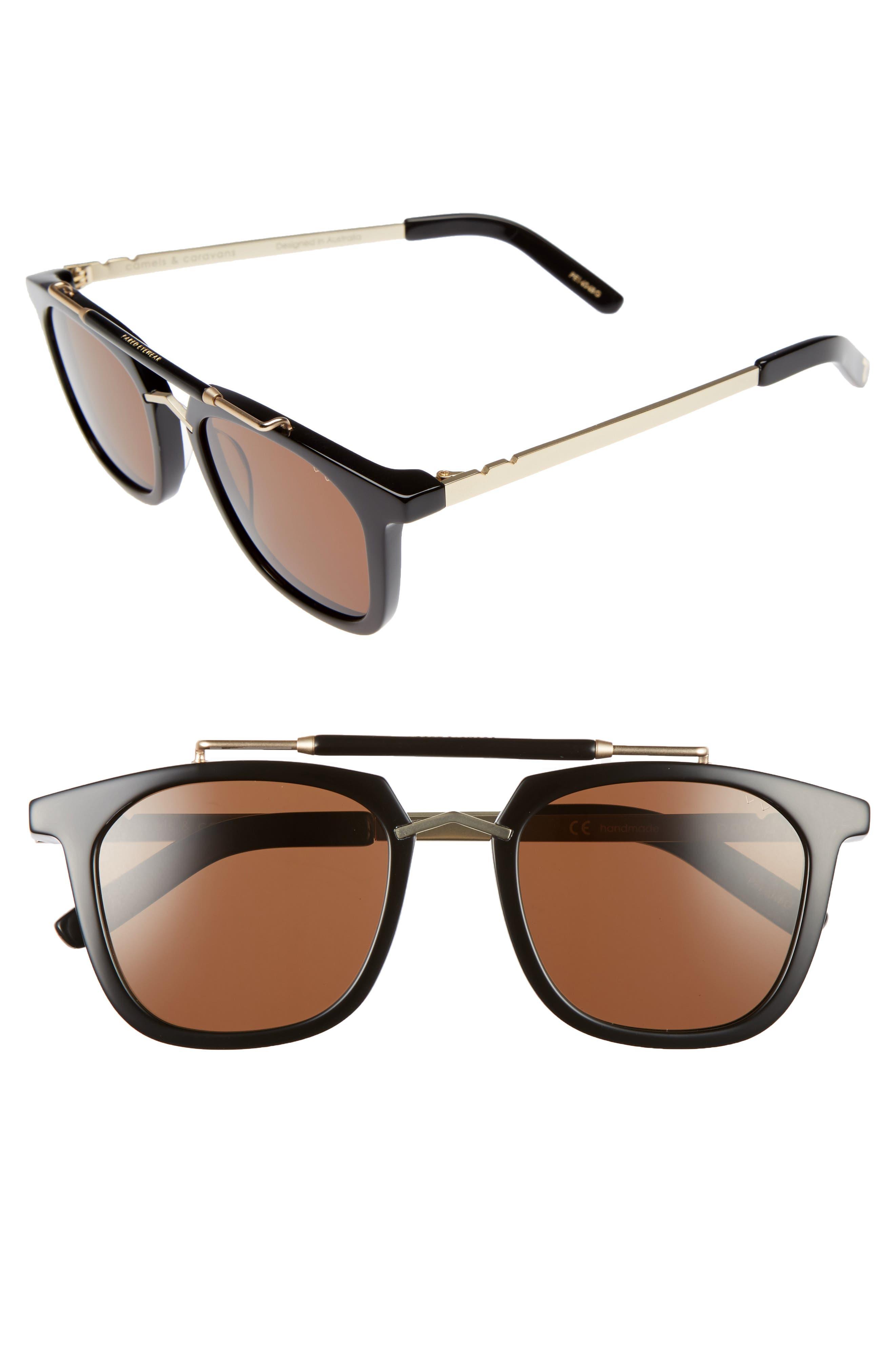 Camels & Caravans 50mm Retro Sunglasses,                         Main,                         color, BLACK/ GOLD BROWN