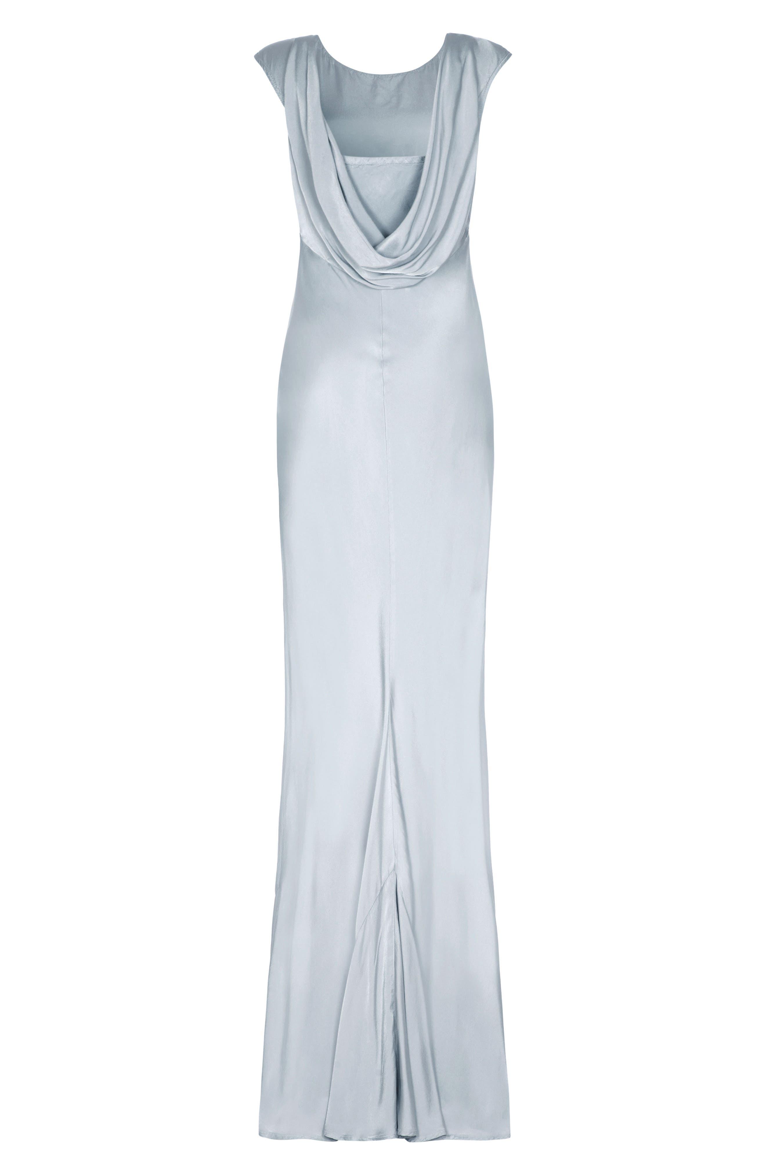 Salma Cowl Back Gown,                             Alternate thumbnail 4, color,                             SILVER LAKE