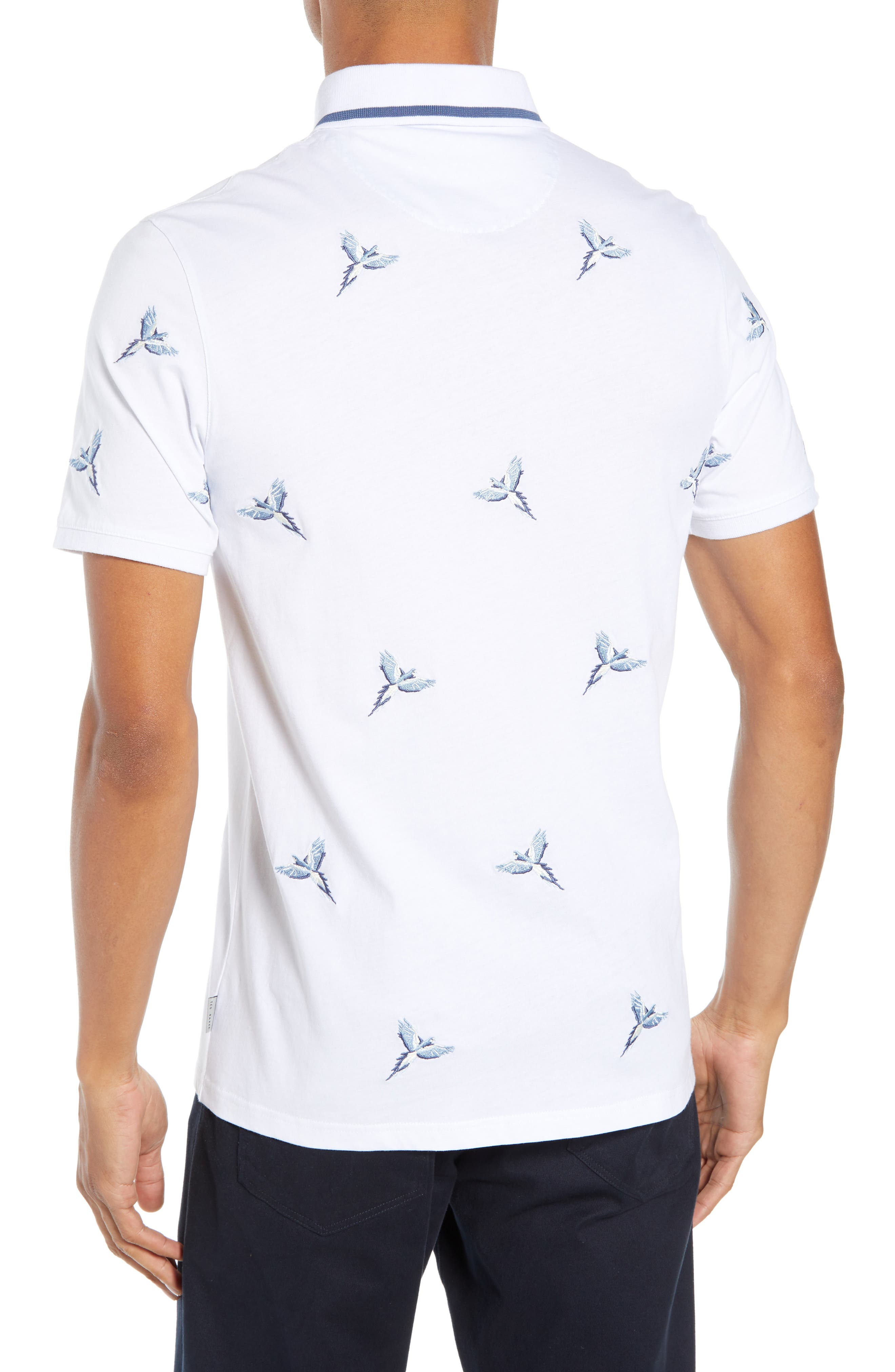 Slim Fit Hapnes Embroidered Bird Polo,                             Alternate thumbnail 2, color,                             WHITE