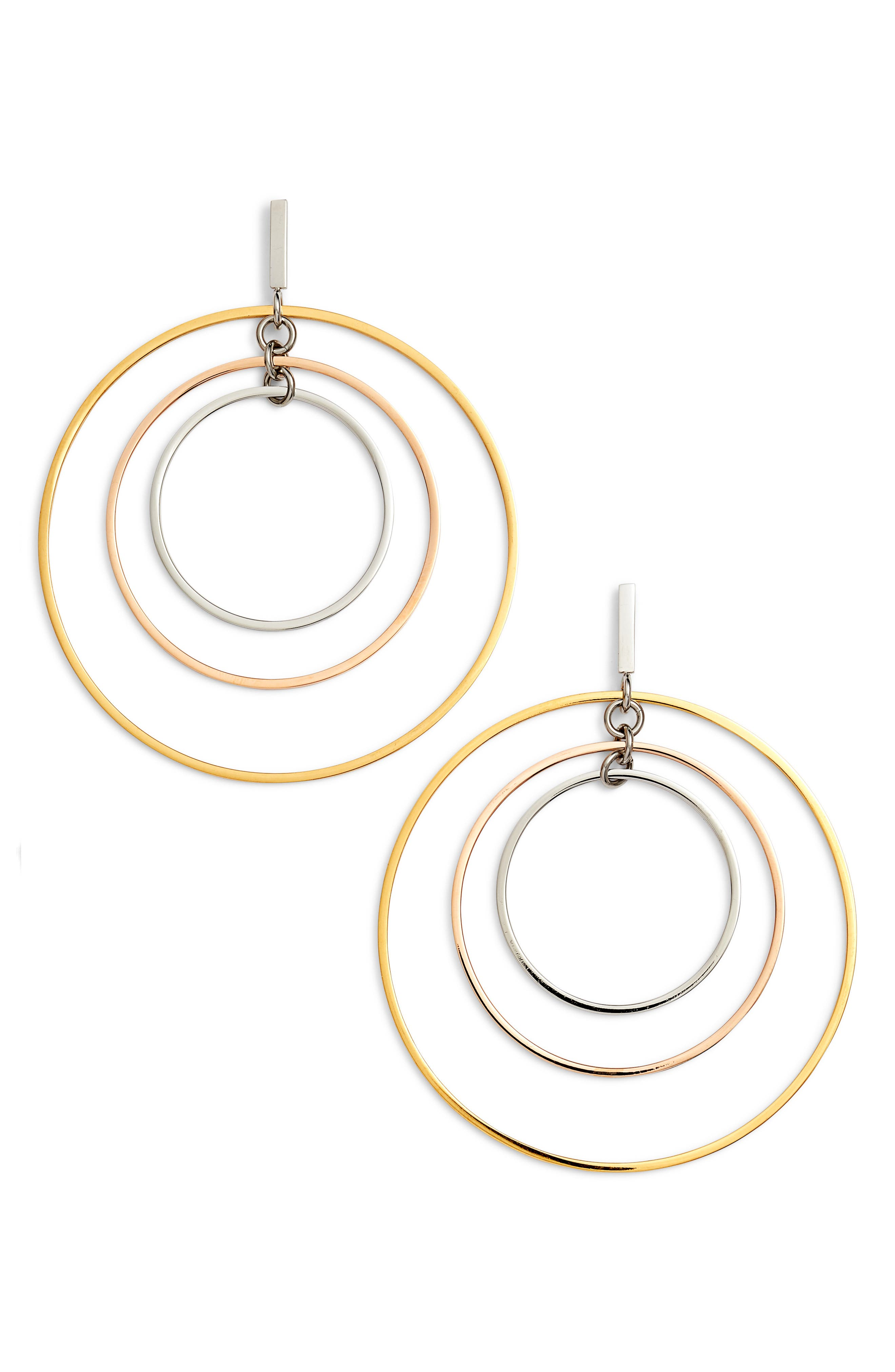 Wire Hoop Earrings,                             Main thumbnail 1, color,                             GOLD/ SILVER/ ROSE GOLD