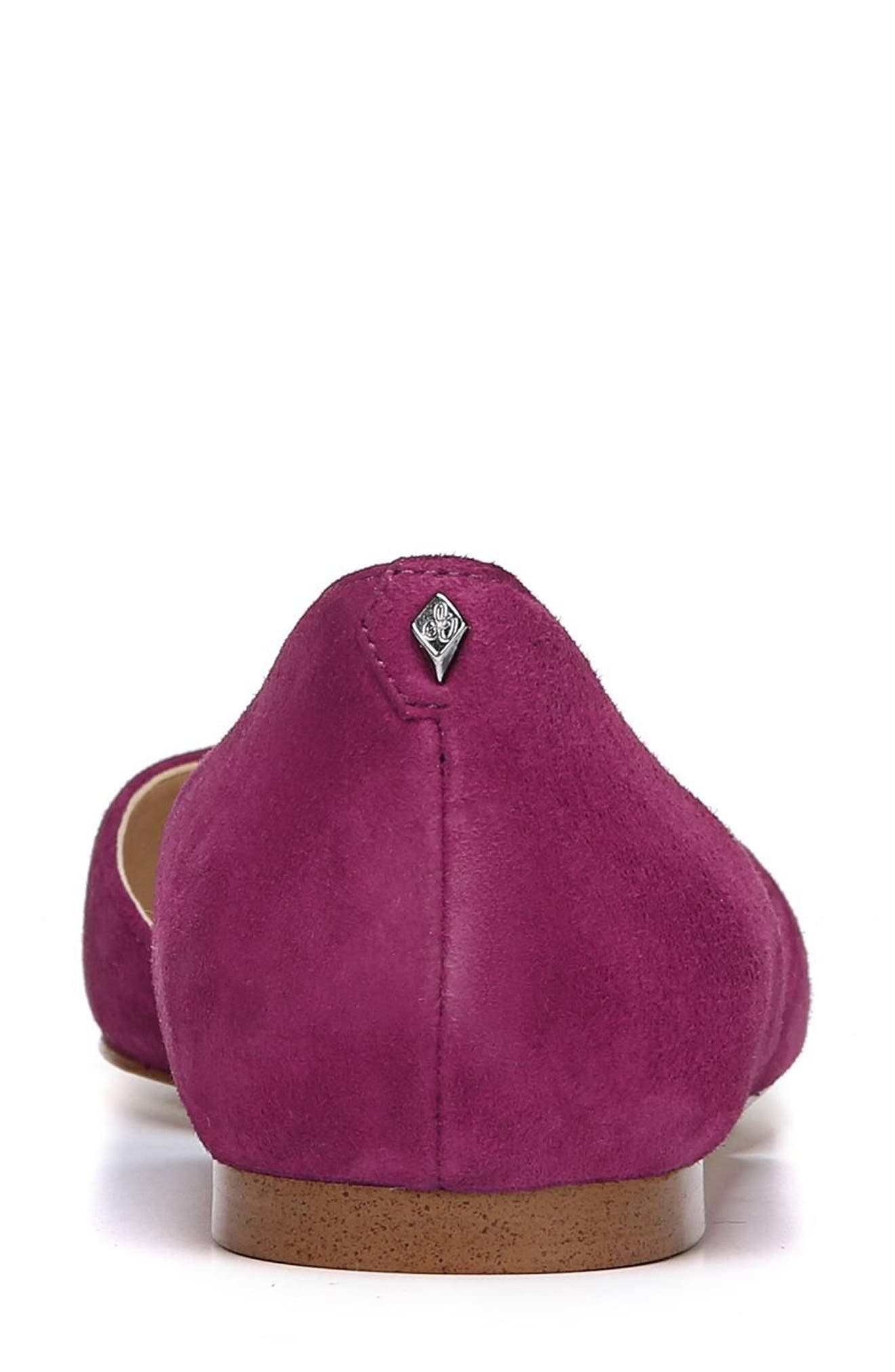Rodney Pointy Toe d'Orsay Flat,                             Alternate thumbnail 9, color,                             PURPLE PLUM SUEDE