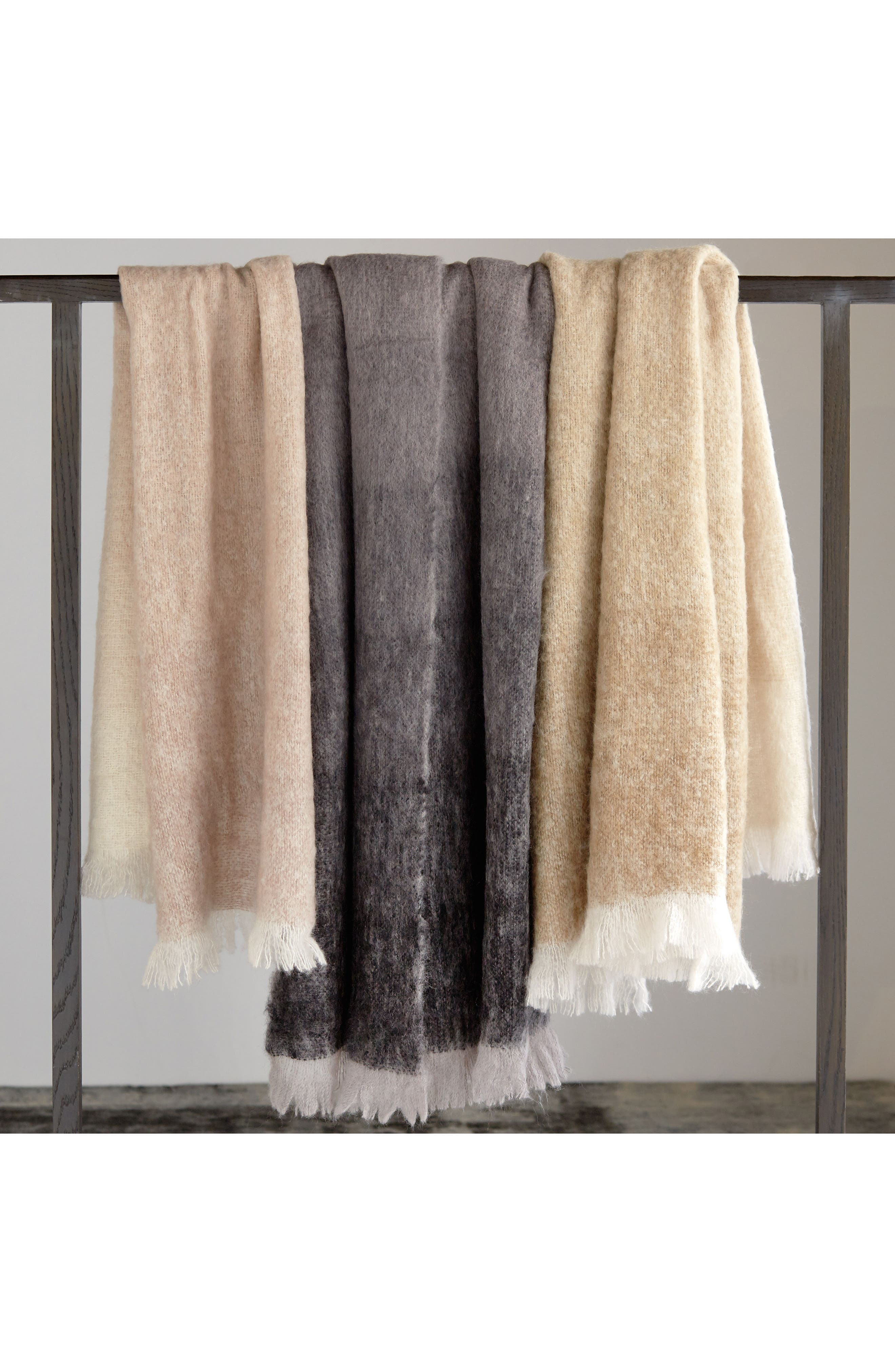 Mohair & Wool Throw,                             Alternate thumbnail 7, color,                             CHARCOAL