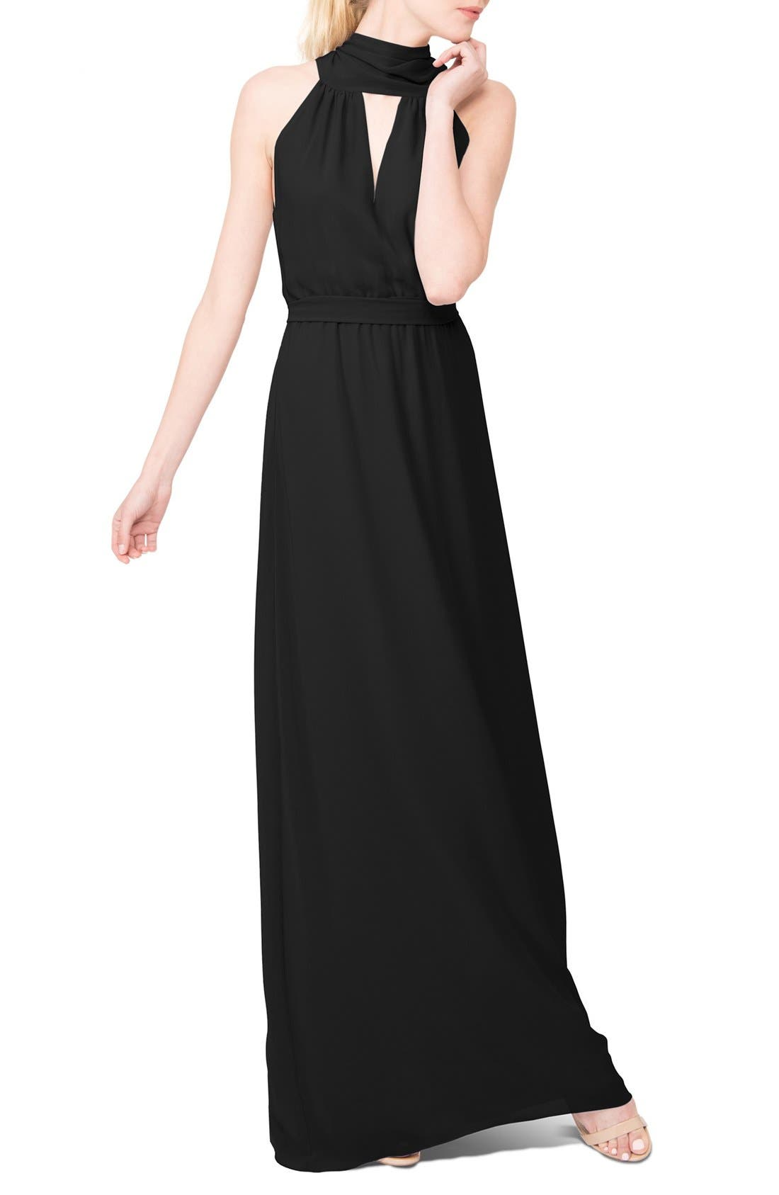 Riggs Halter V-Neck Chiffon Gown,                             Main thumbnail 1, color,