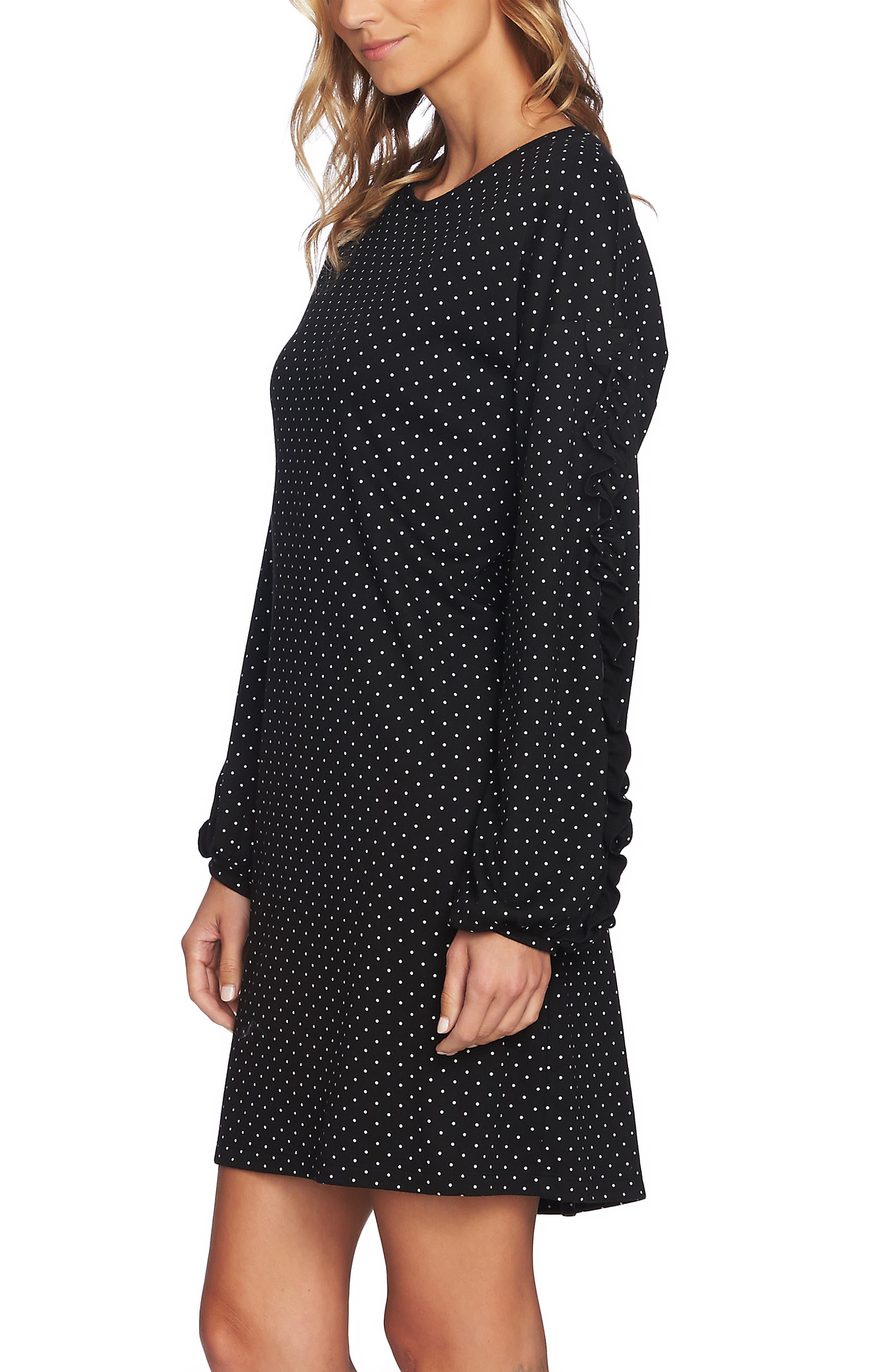Pin Dot Ruffle Sleeve Dress,                             Alternate thumbnail 4, color,                             RICH BLACK