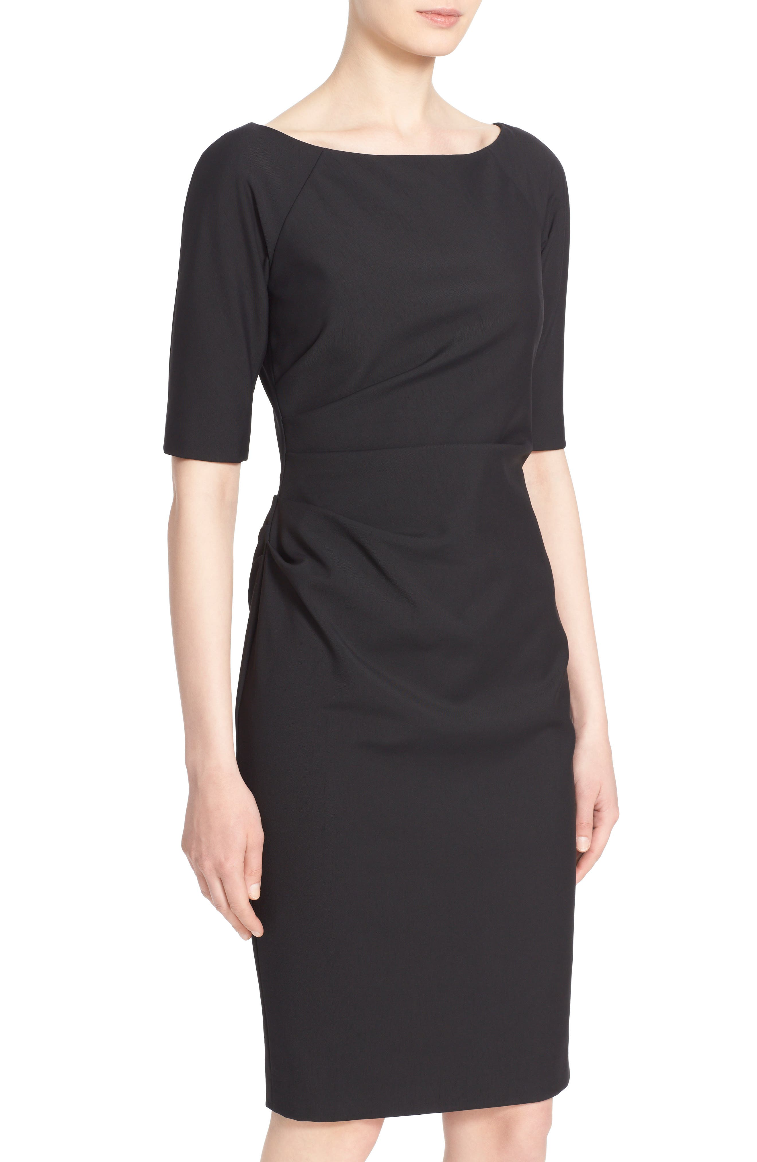 Side Ruched Stretch Twill Dress,                             Alternate thumbnail 4, color,                             BLACK