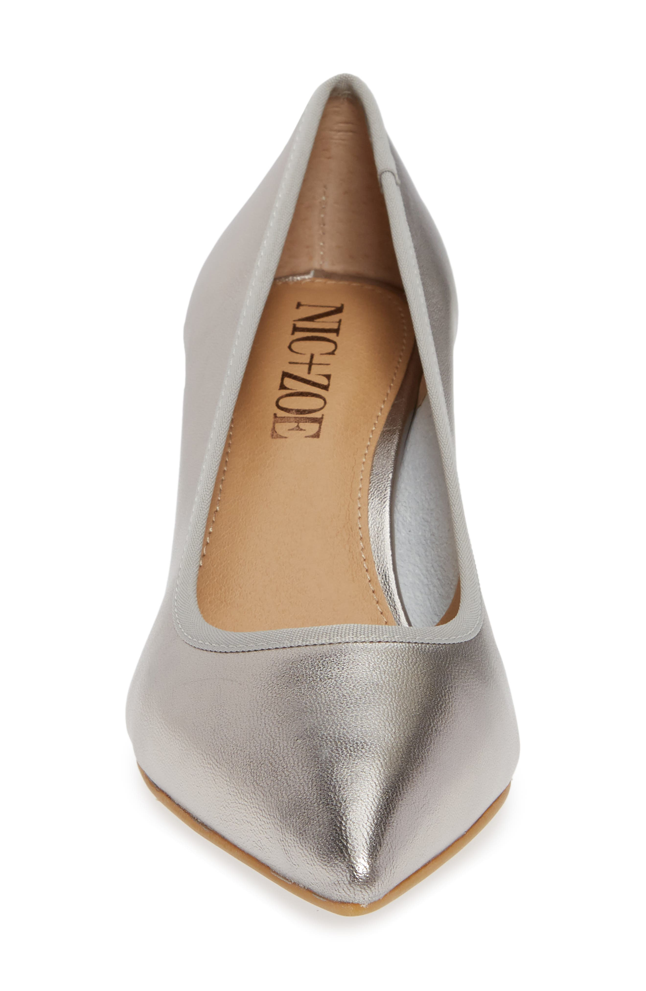 NIC + ZOE Cora Pointy Toe Pump,                             Alternate thumbnail 4, color,                             PEWTER LEATHER