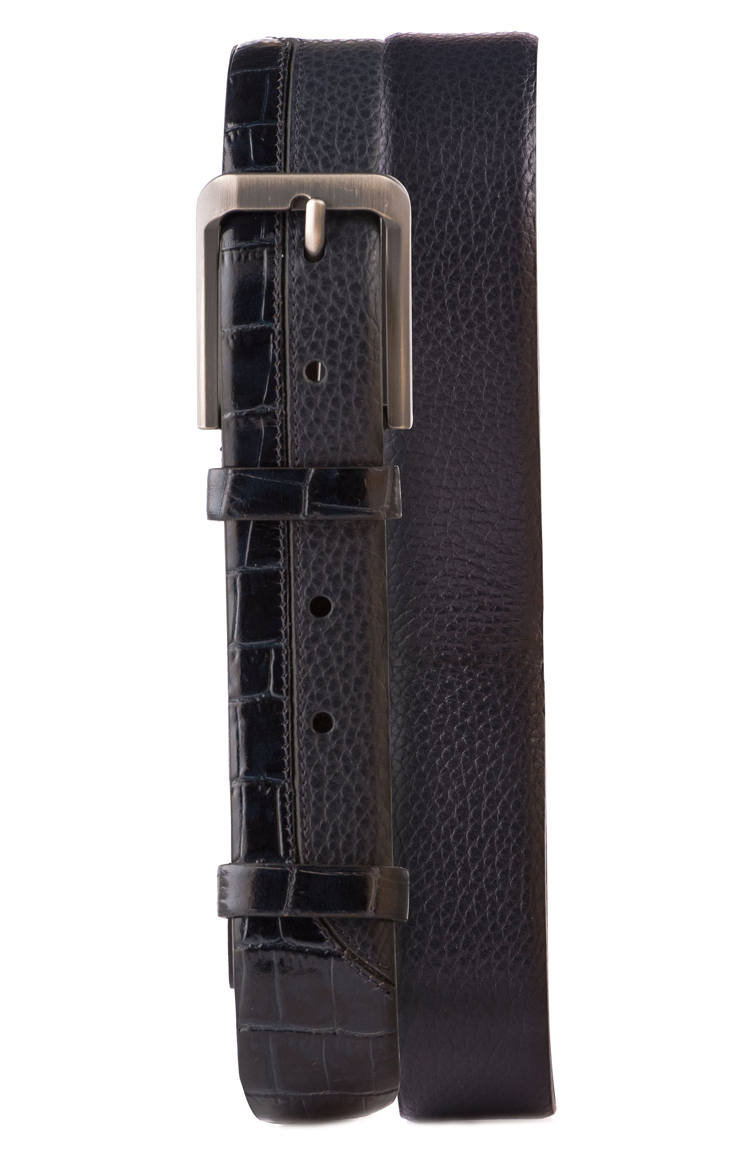 Alligator Embossed Leather Belt,                             Main thumbnail 2, color,