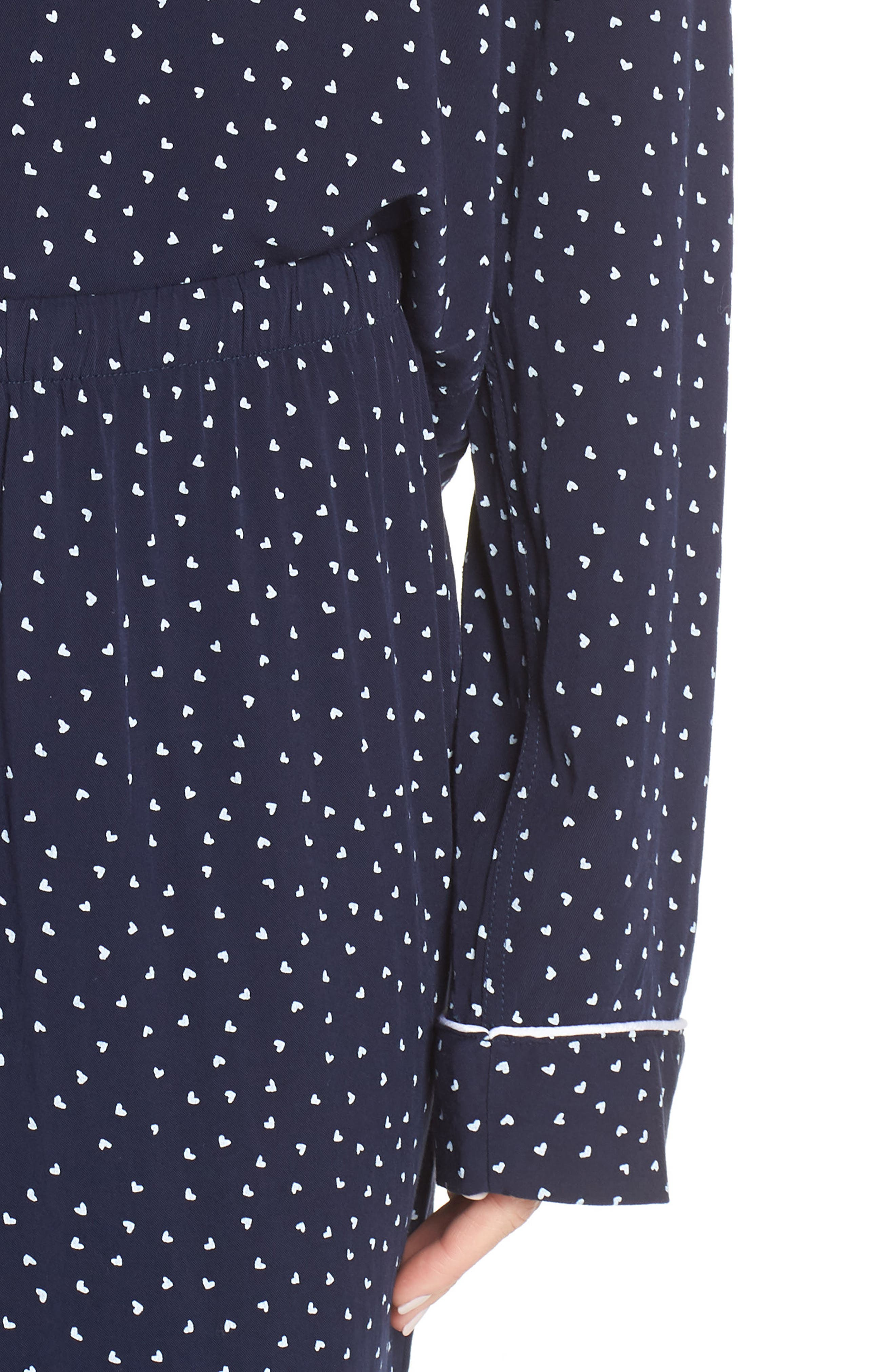 Heart Print Pajamas,                             Alternate thumbnail 4, color,                             NAVY MINI HEARTS
