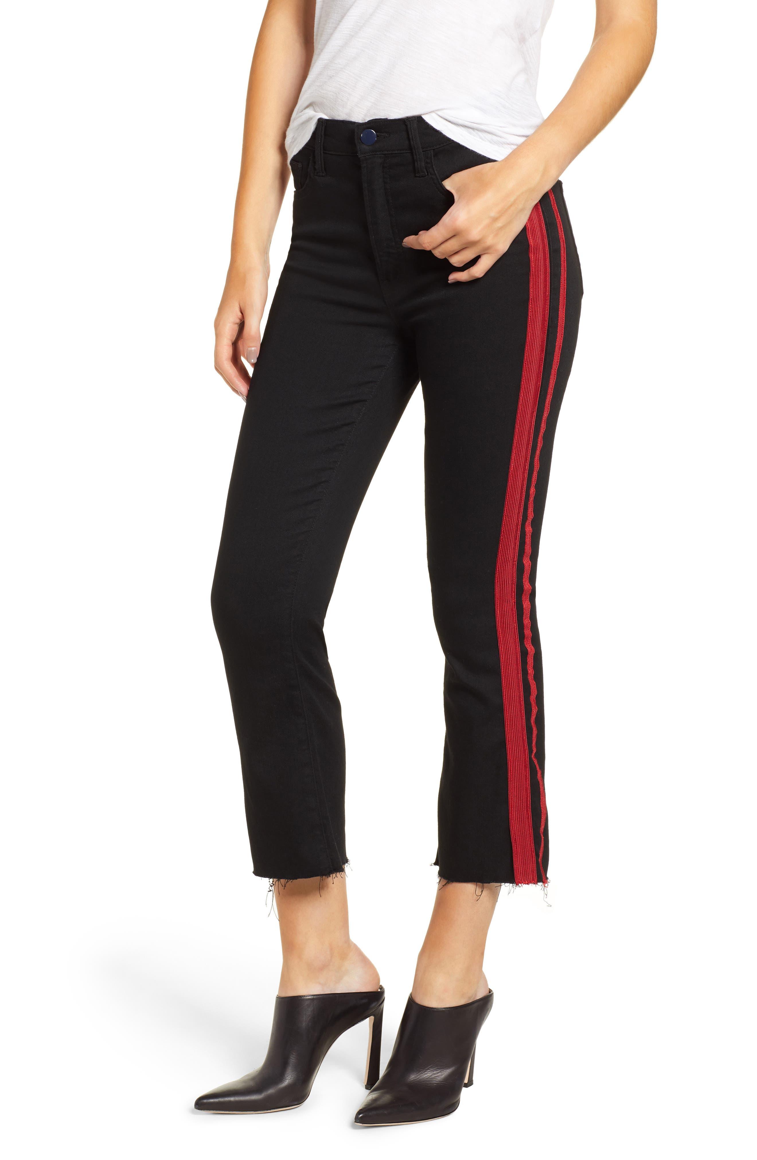 Side Stripe Crop Jeans,                             Main thumbnail 1, color,                             BLACK