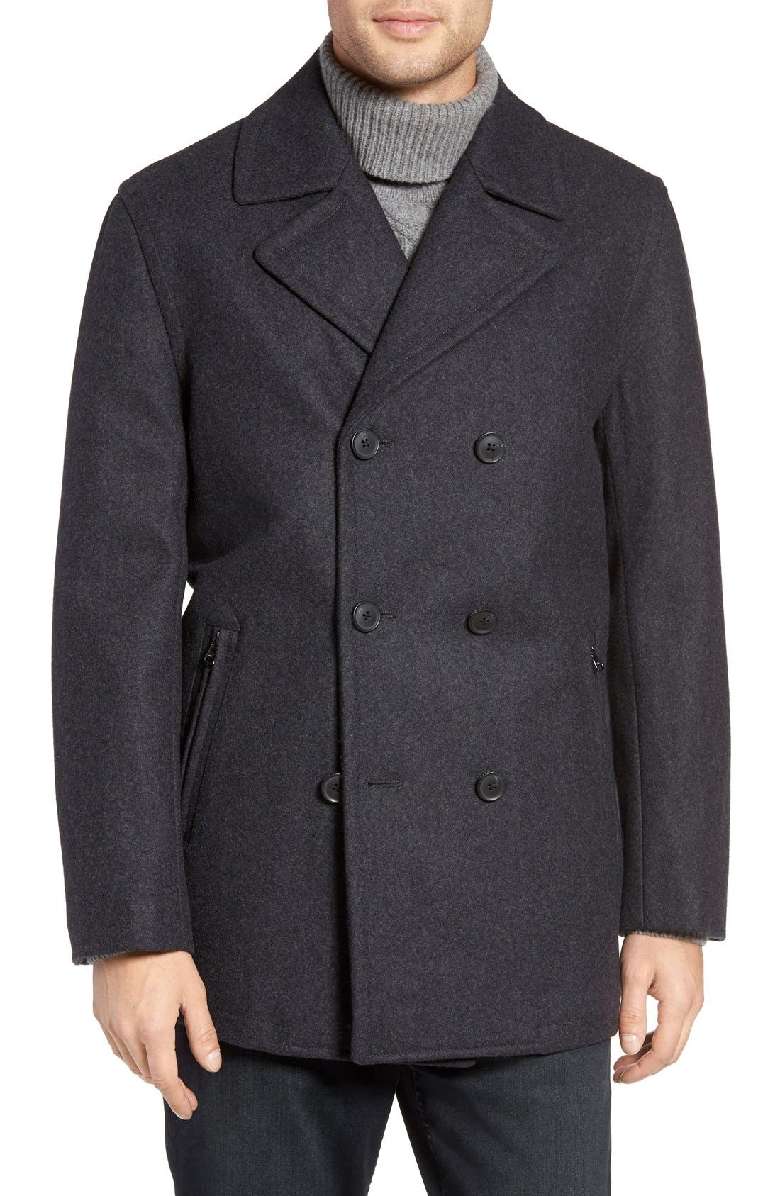 Wool Blend Double Breasted Peacoat,                             Alternate thumbnail 69, color,