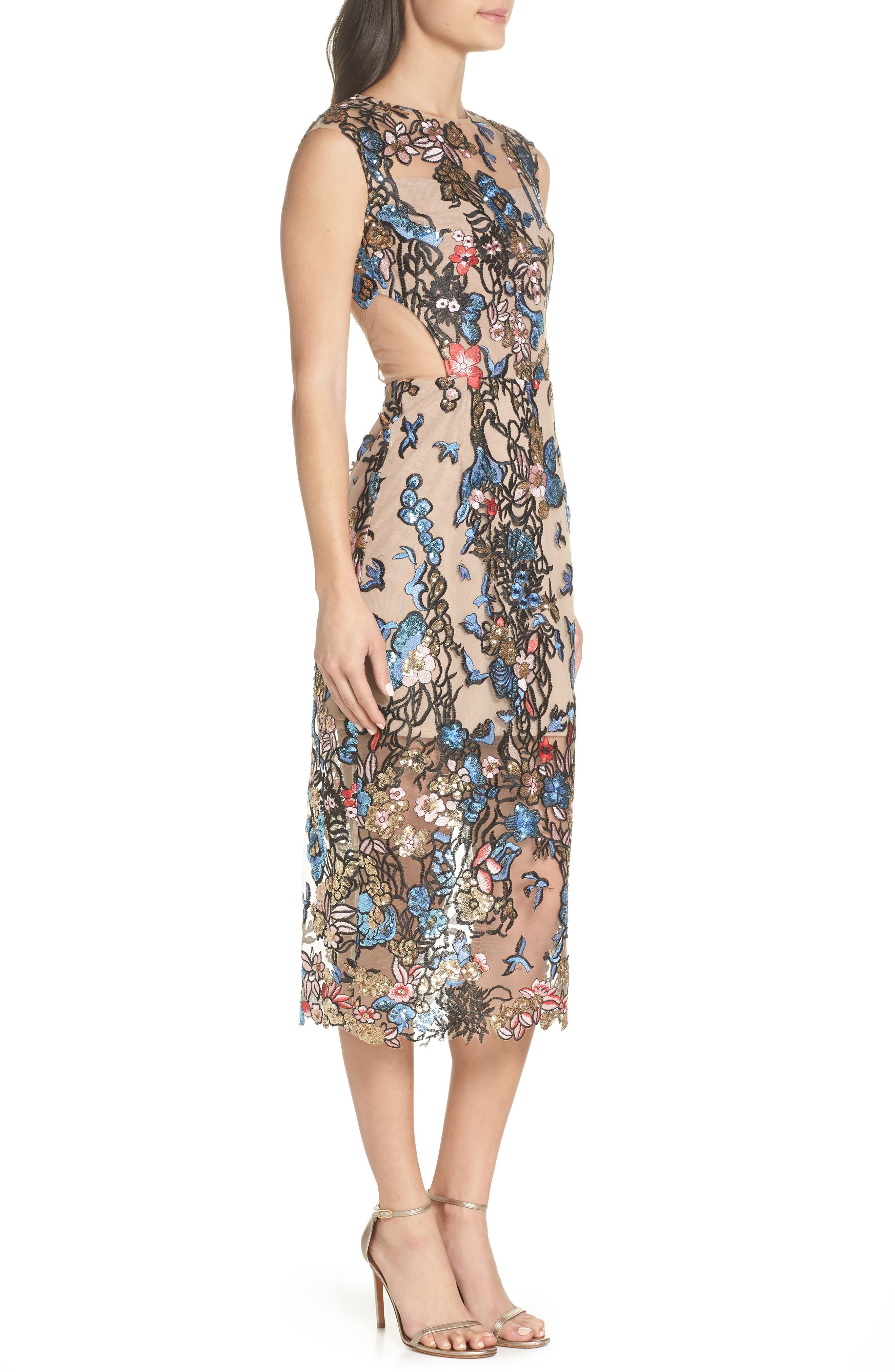 Bird of Paradise Sequin Embroidered Midi Dress,                             Alternate thumbnail 3, color,                             259