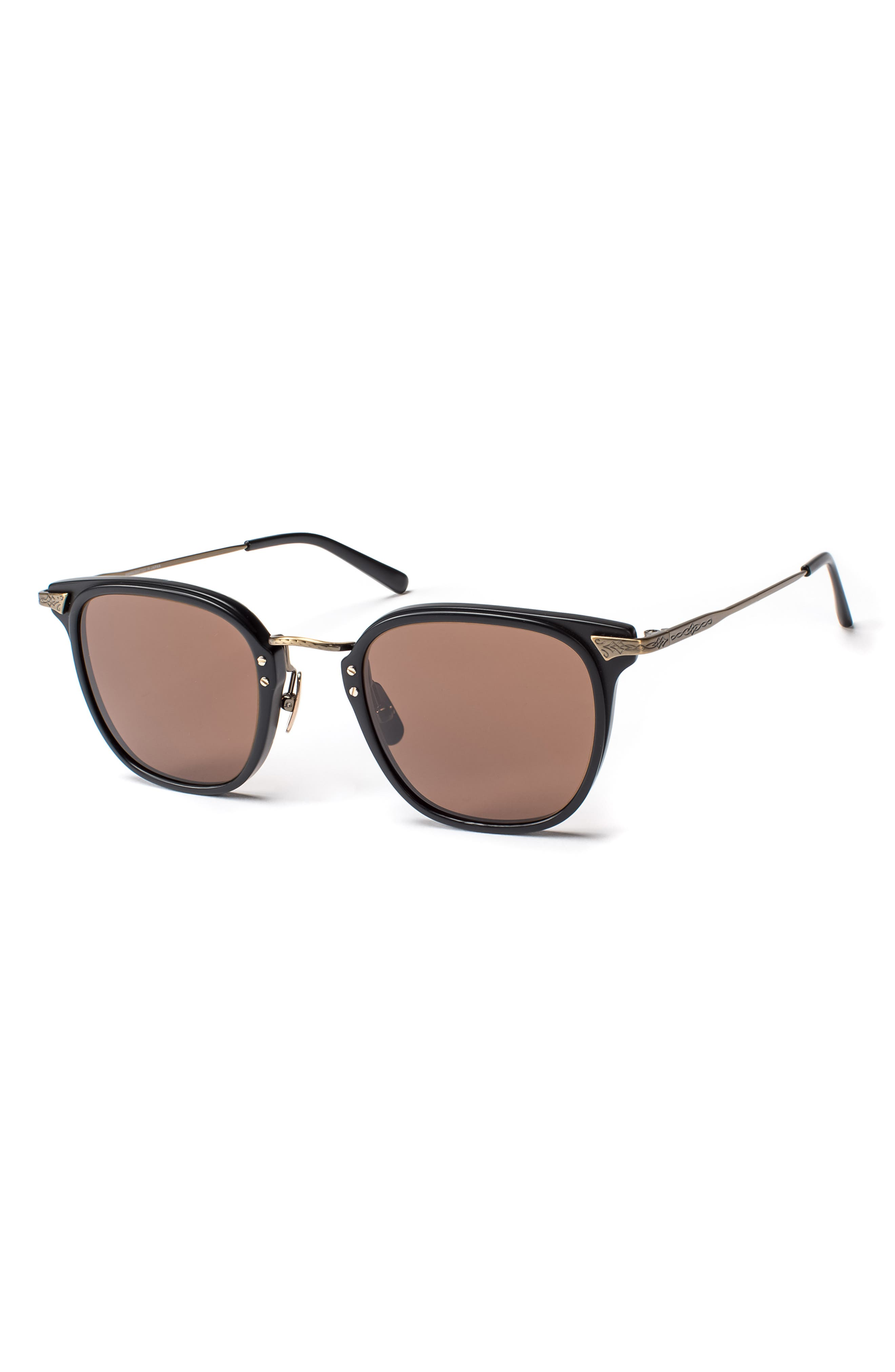 Hamilton 48mm Polarized Sunglasses,                             Main thumbnail 1, color,                             MATTE BLACK / ANTIQUE GOLD