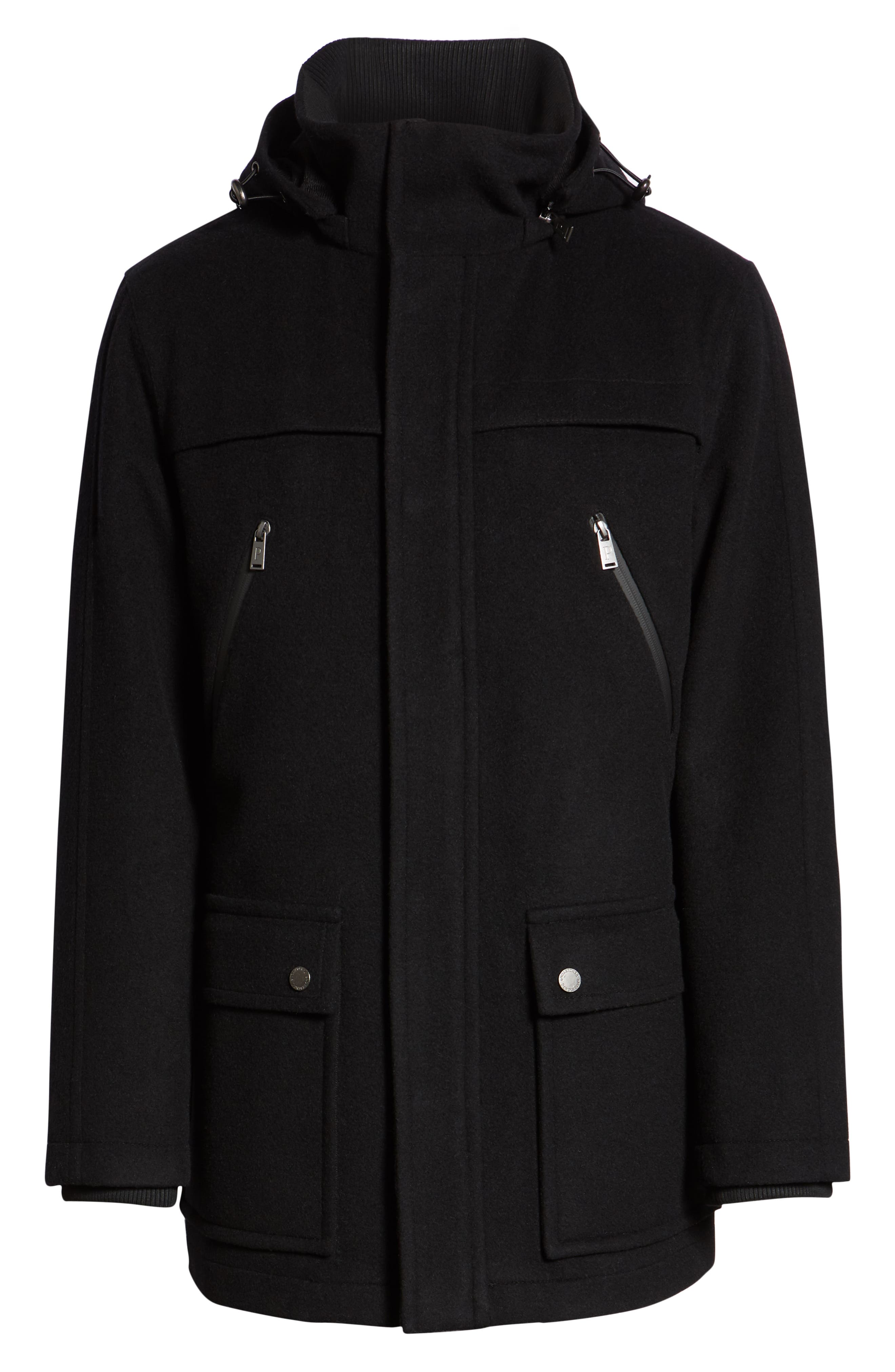 Bainbridge Water Repellent Wool Blend Metro Coat,                             Alternate thumbnail 6, color,                             BLACK