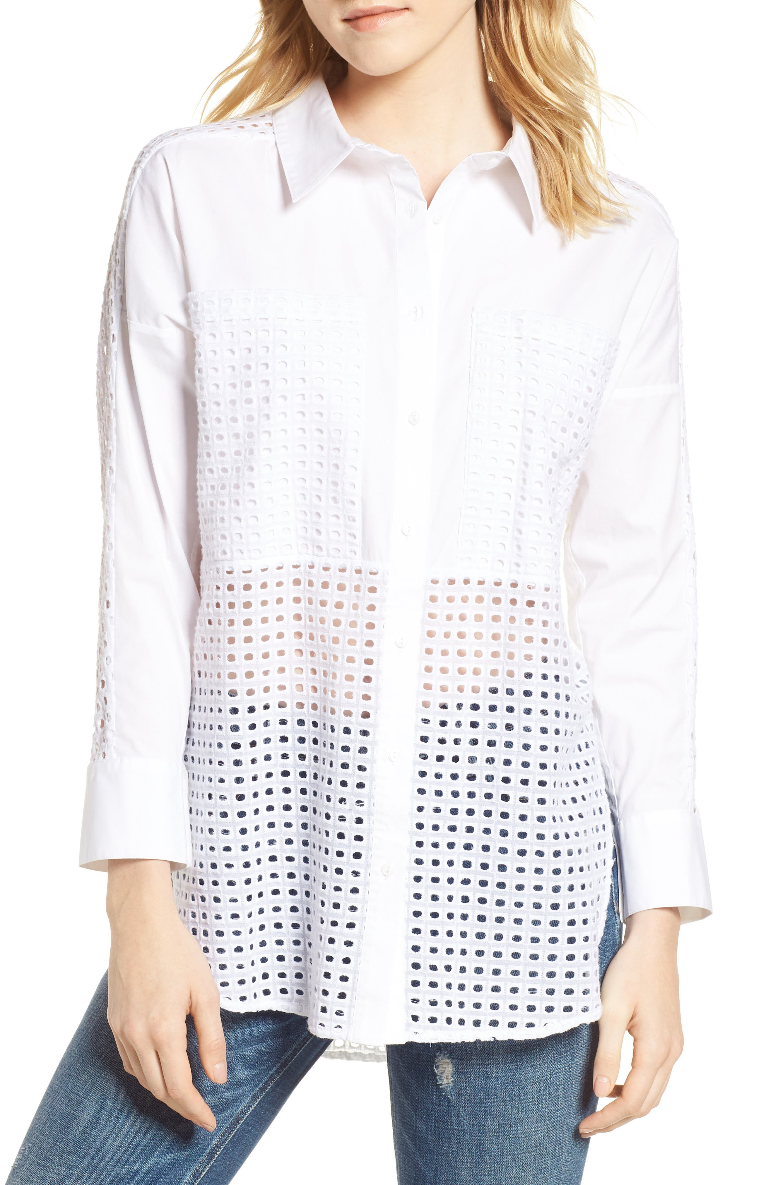 Nora Mesh Inset Blouse,                         Main,                         color, 150